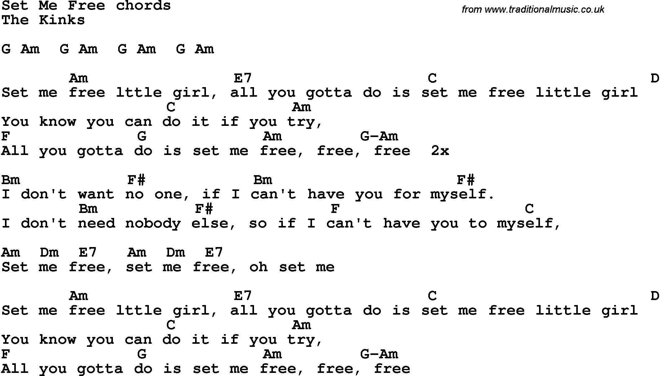 Song Lyrics With Guitar Chords For Set Me Free