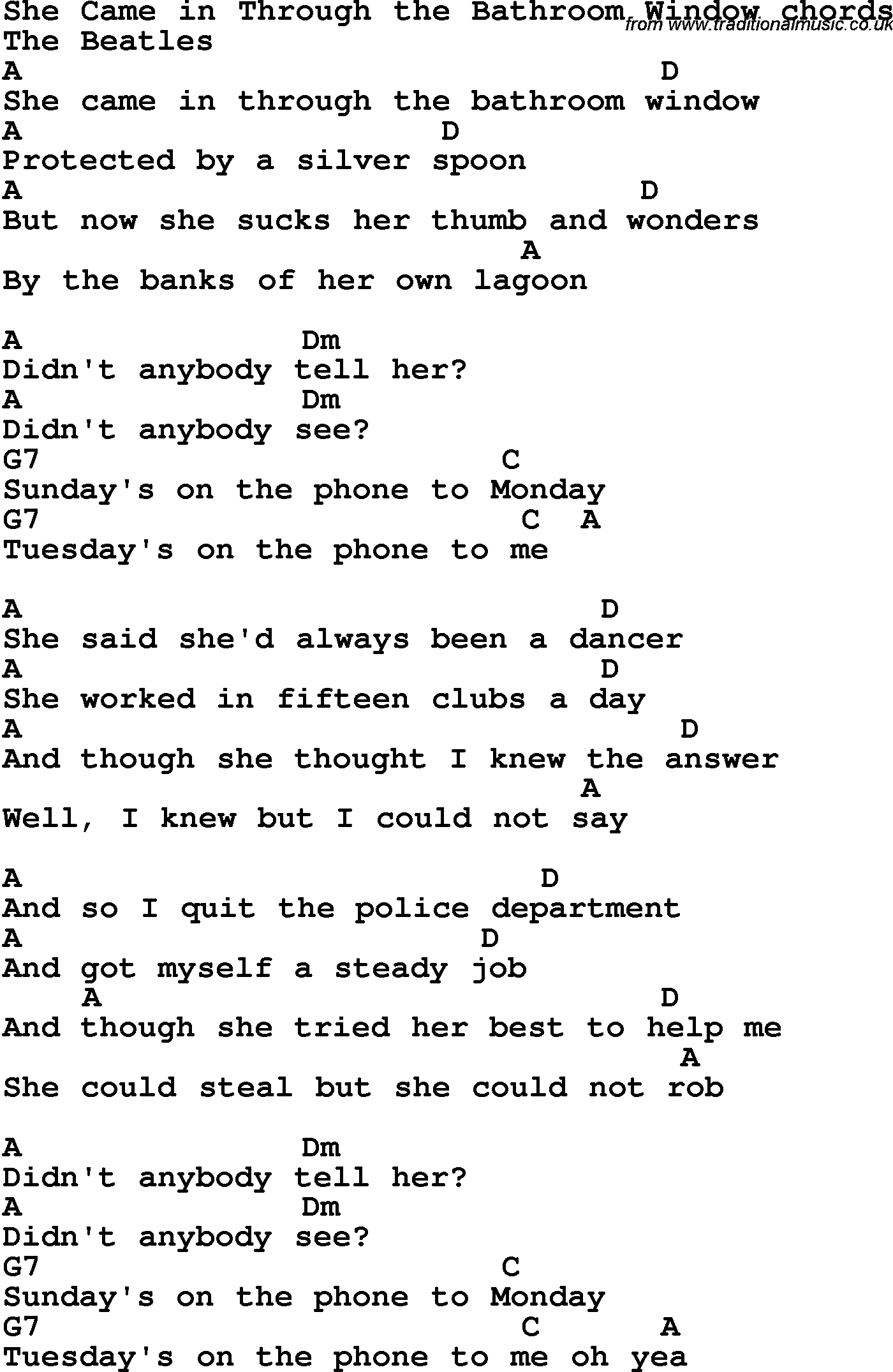 Bathroom Window Lyrics song lyrics with guitar chords for she came in through the