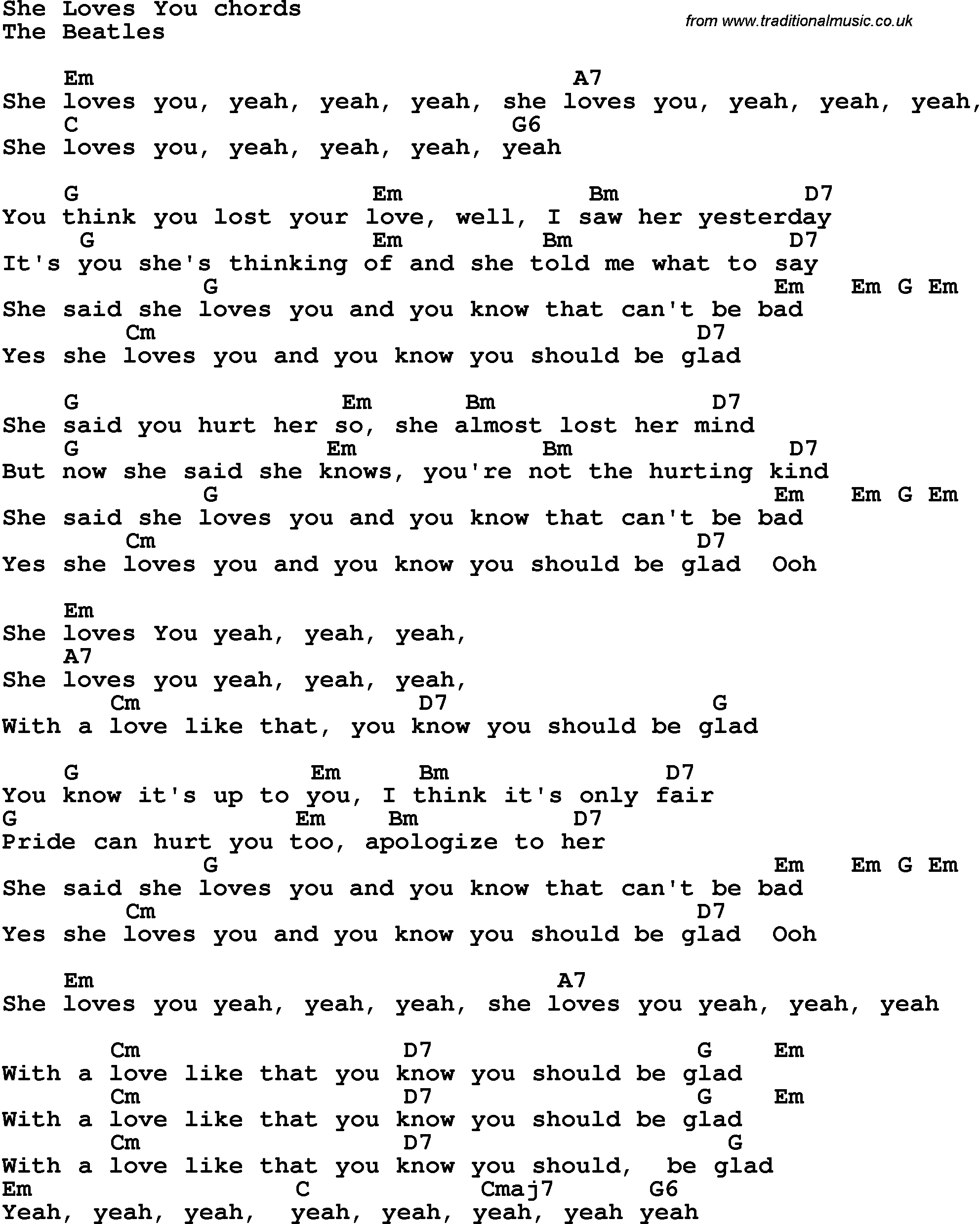 Song Lyrics With Guitar Chords For She Loves You The Beatles