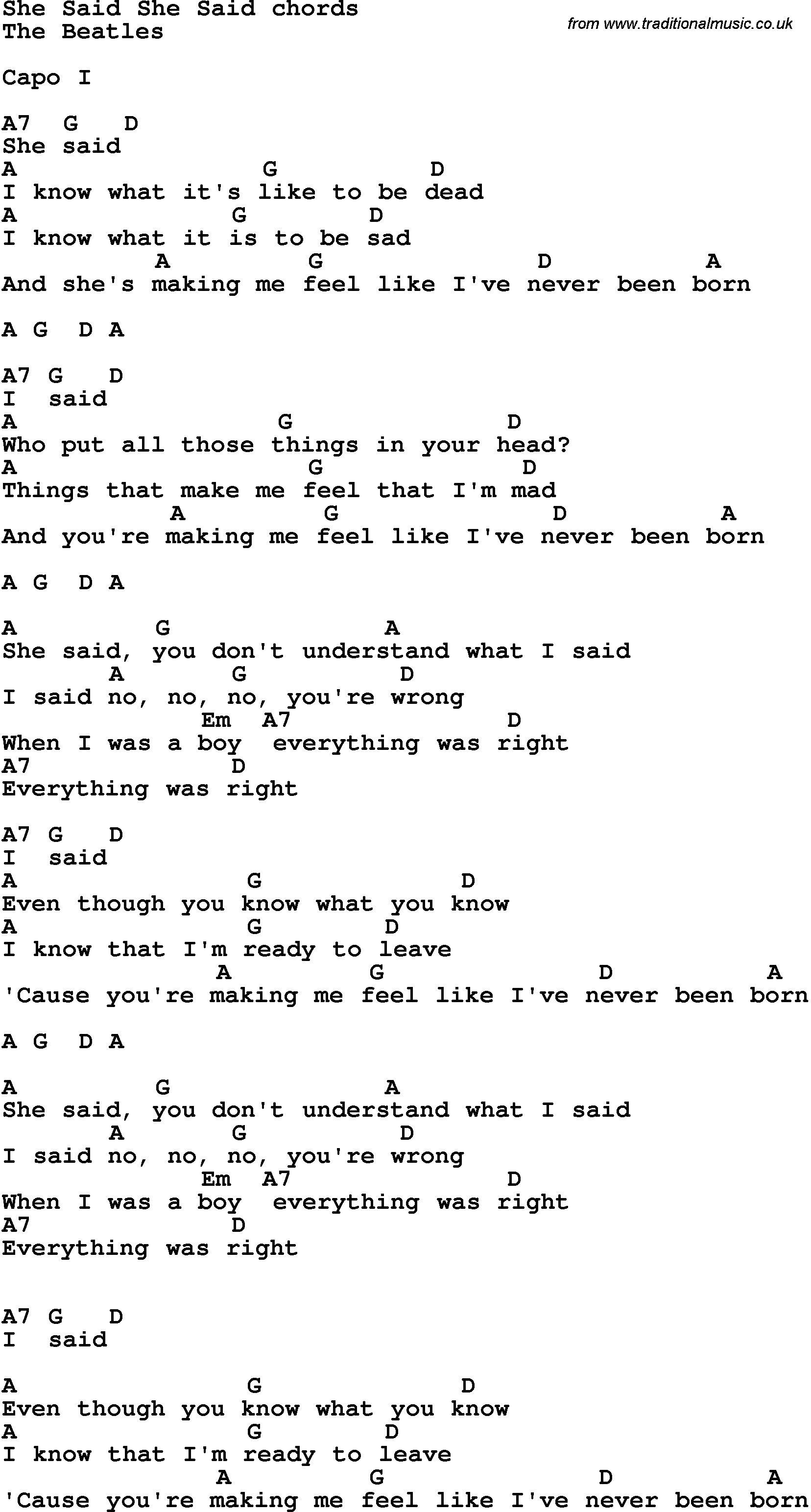 Song lyrics with guitar chords for she said she said the beatles song lyrics with guitar chords for she said she said the beatles hexwebz Images