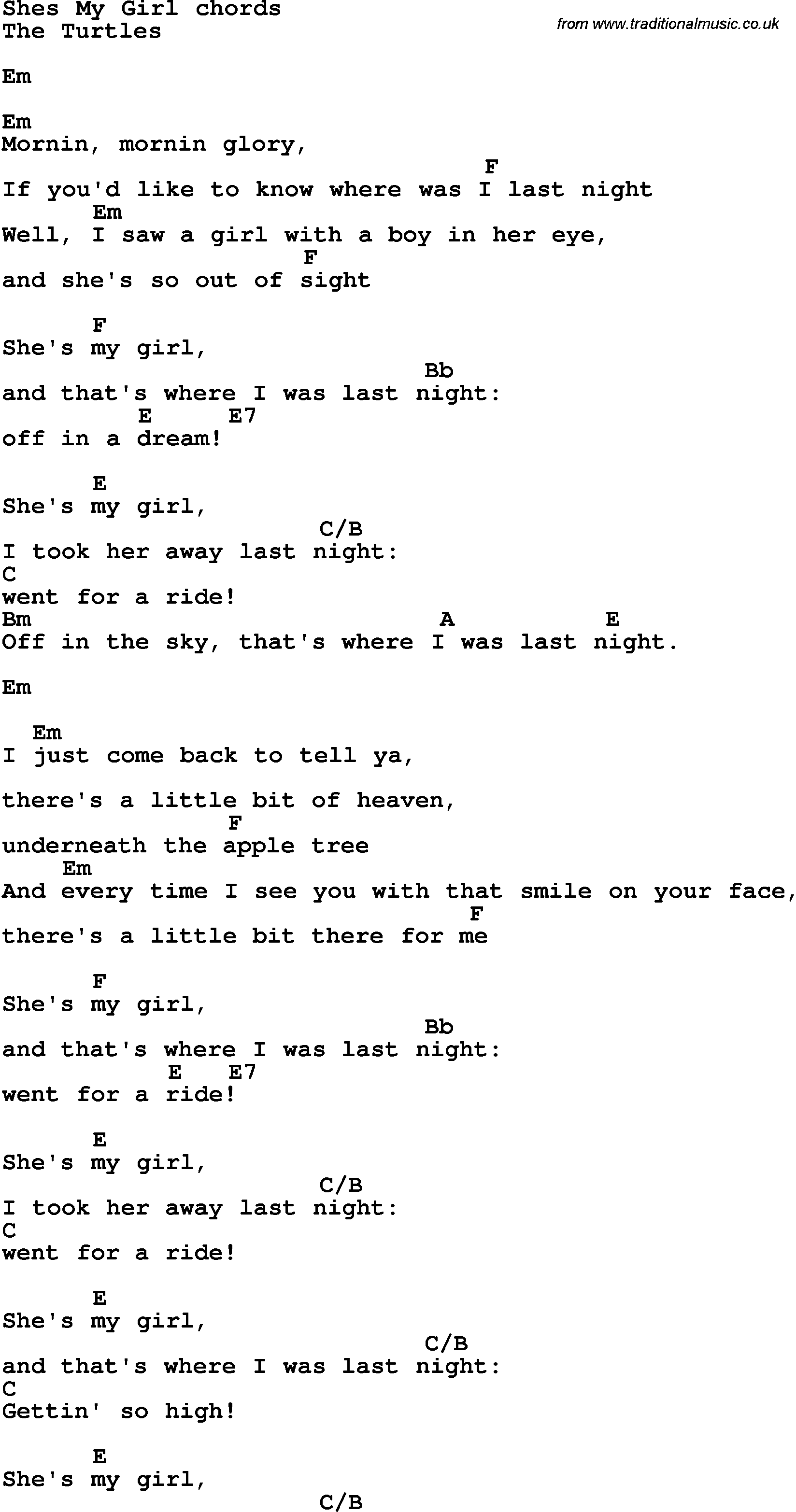 Song Lyrics With Guitar Chords For Shes My Girl