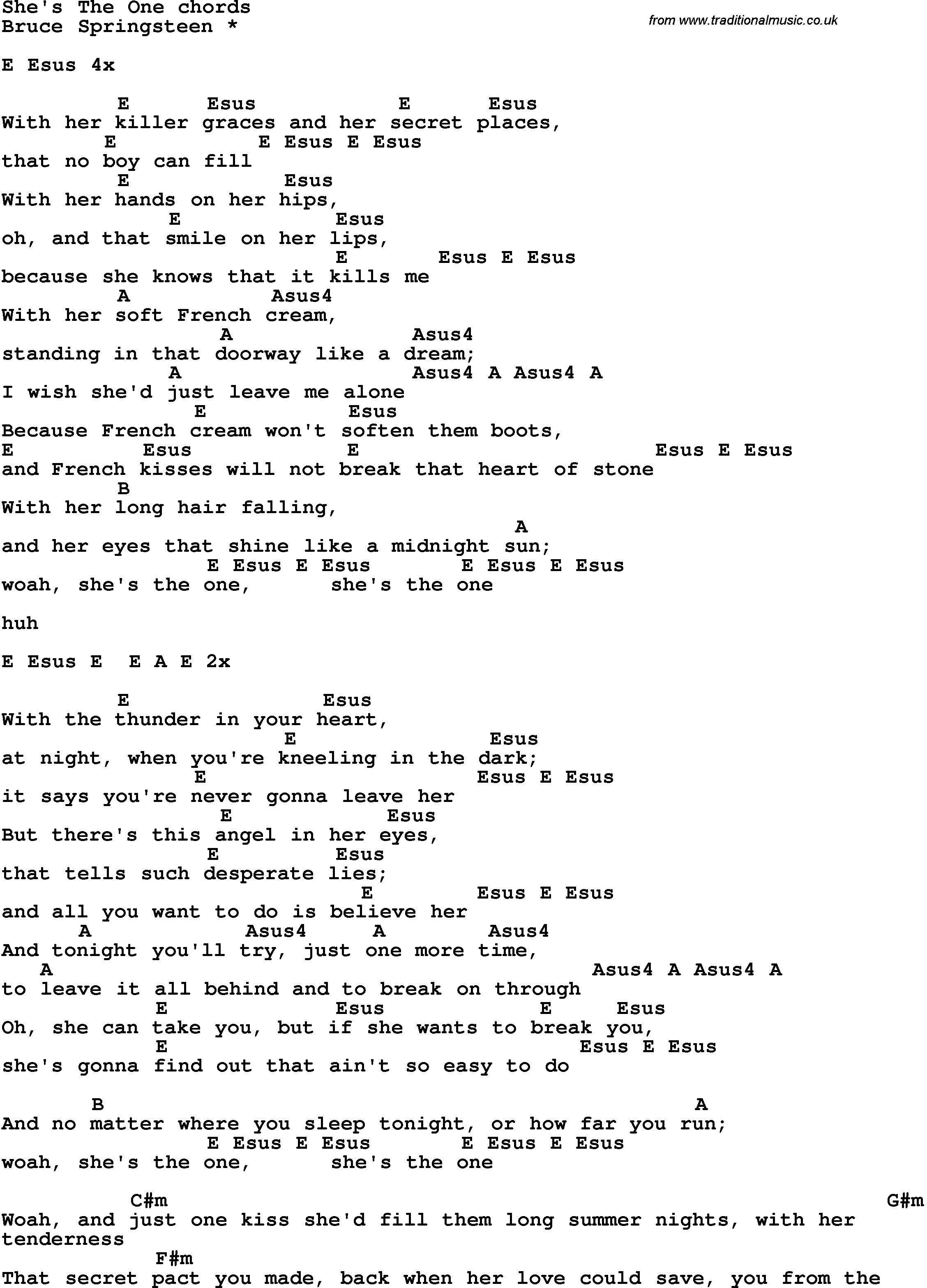 Song Lyrics with guitar chords for She s The One. Song lyrics with guitar chords for She s The One