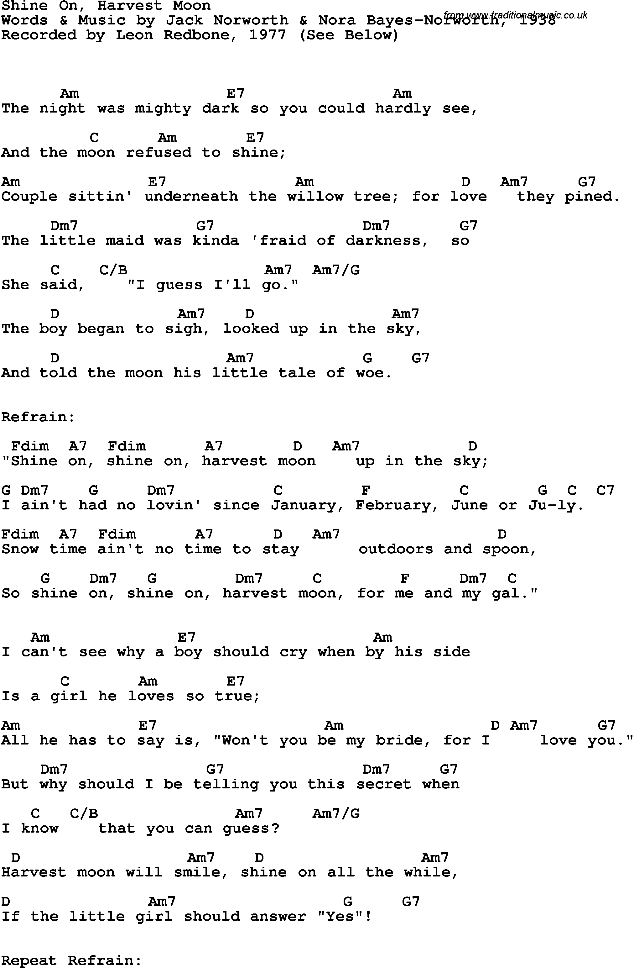 Song Lyrics With Guitar Chords For Shine On Harvest Moon Leon
