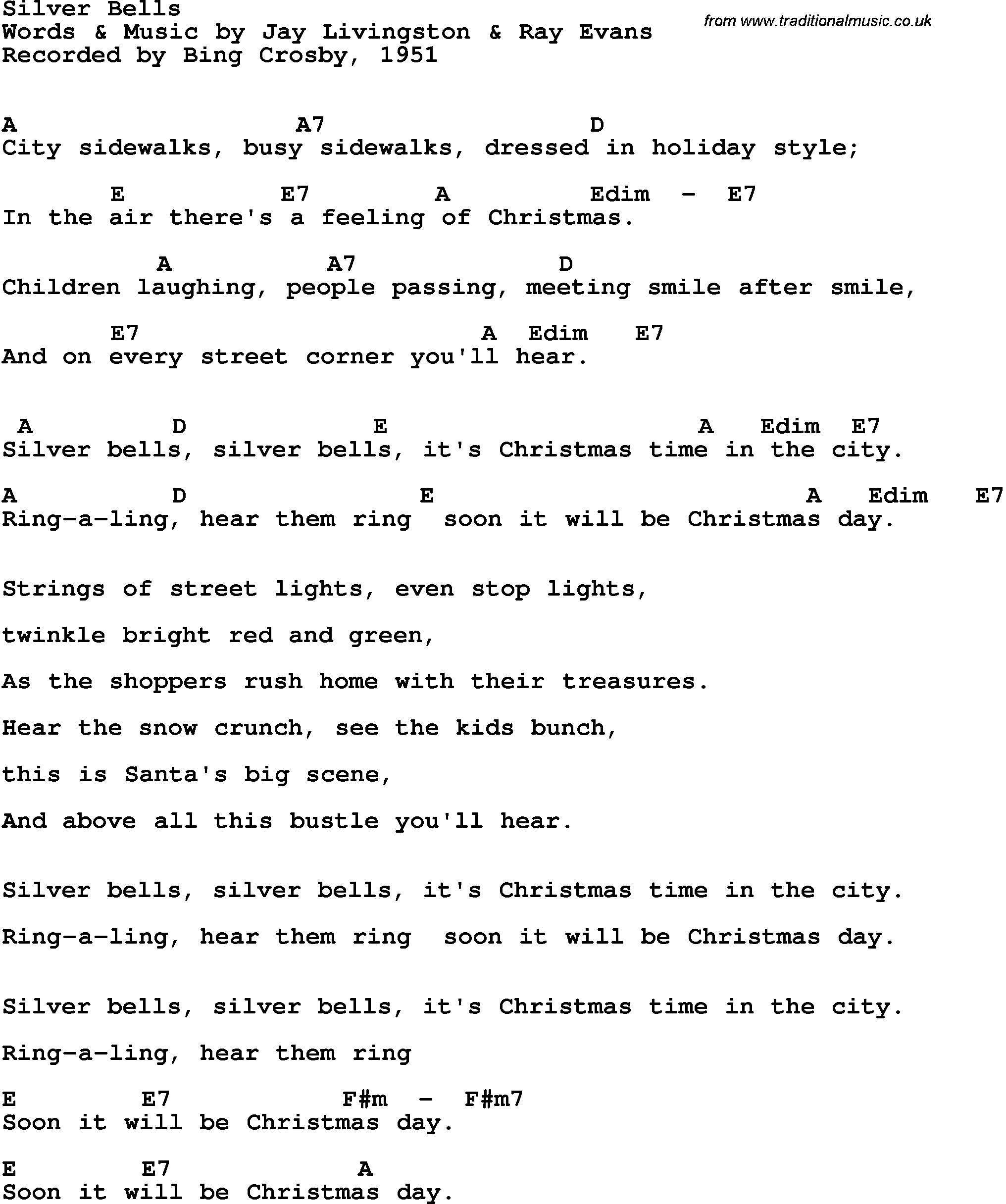 Song lyrics with guitar chords for Silver Bells - Bing Crosby, 1951