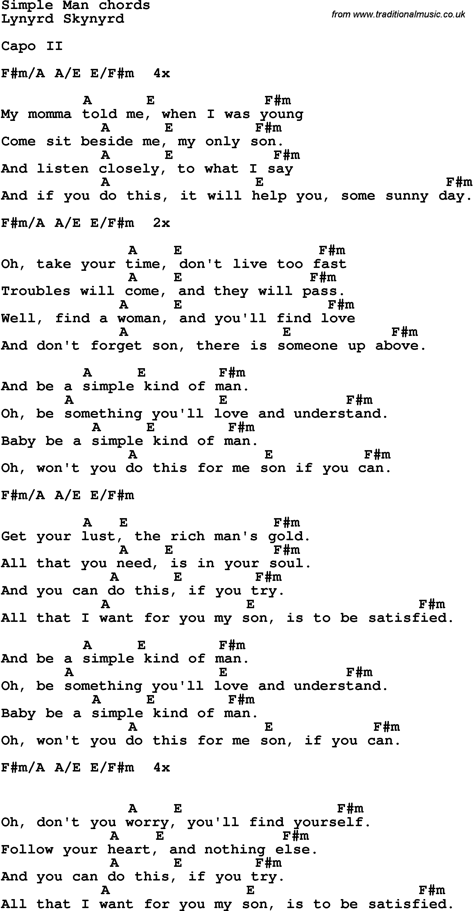 Song Lyrics With Guitar Chords For Simple Man