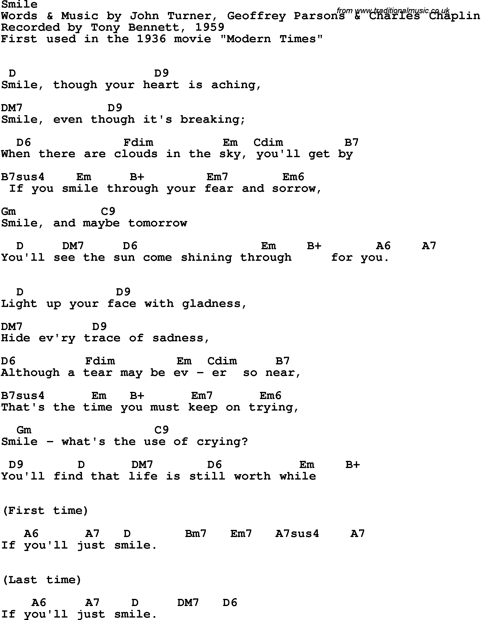 Song Lyrics With Guitar Chords For Smile Tony Bennett 1959