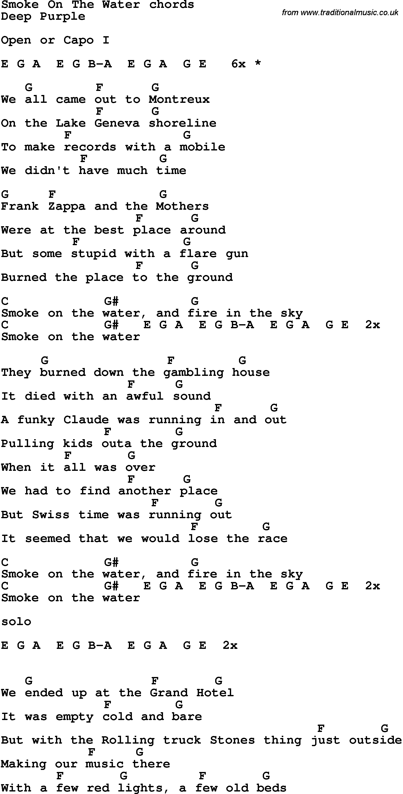 Song lyrics with guitar chords for Smoke On The Water