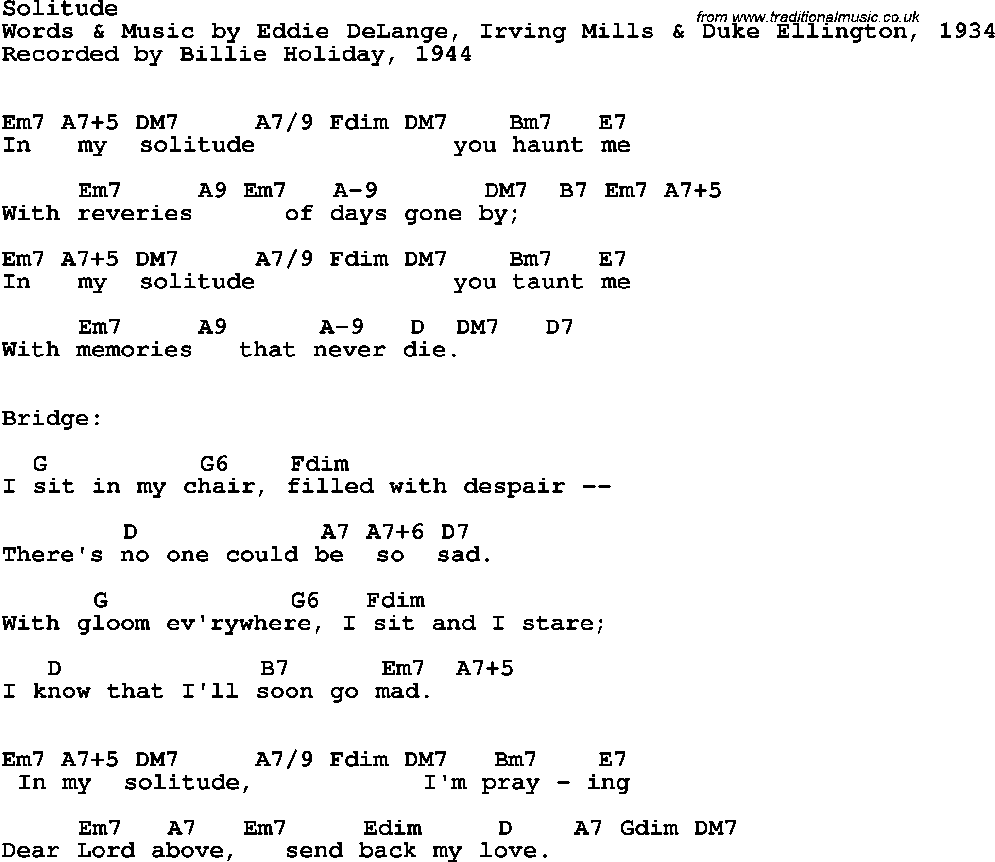 Song Lyrics With Guitar Chords For Solitude Billie Holiday 1944