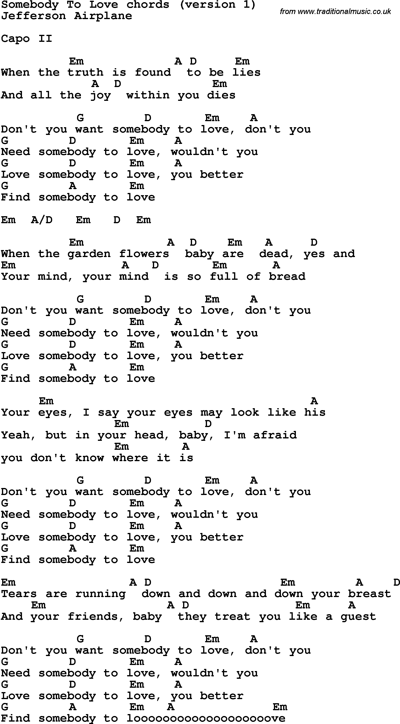 Song Lyrics With Guitar Chords For Somebody To Loved