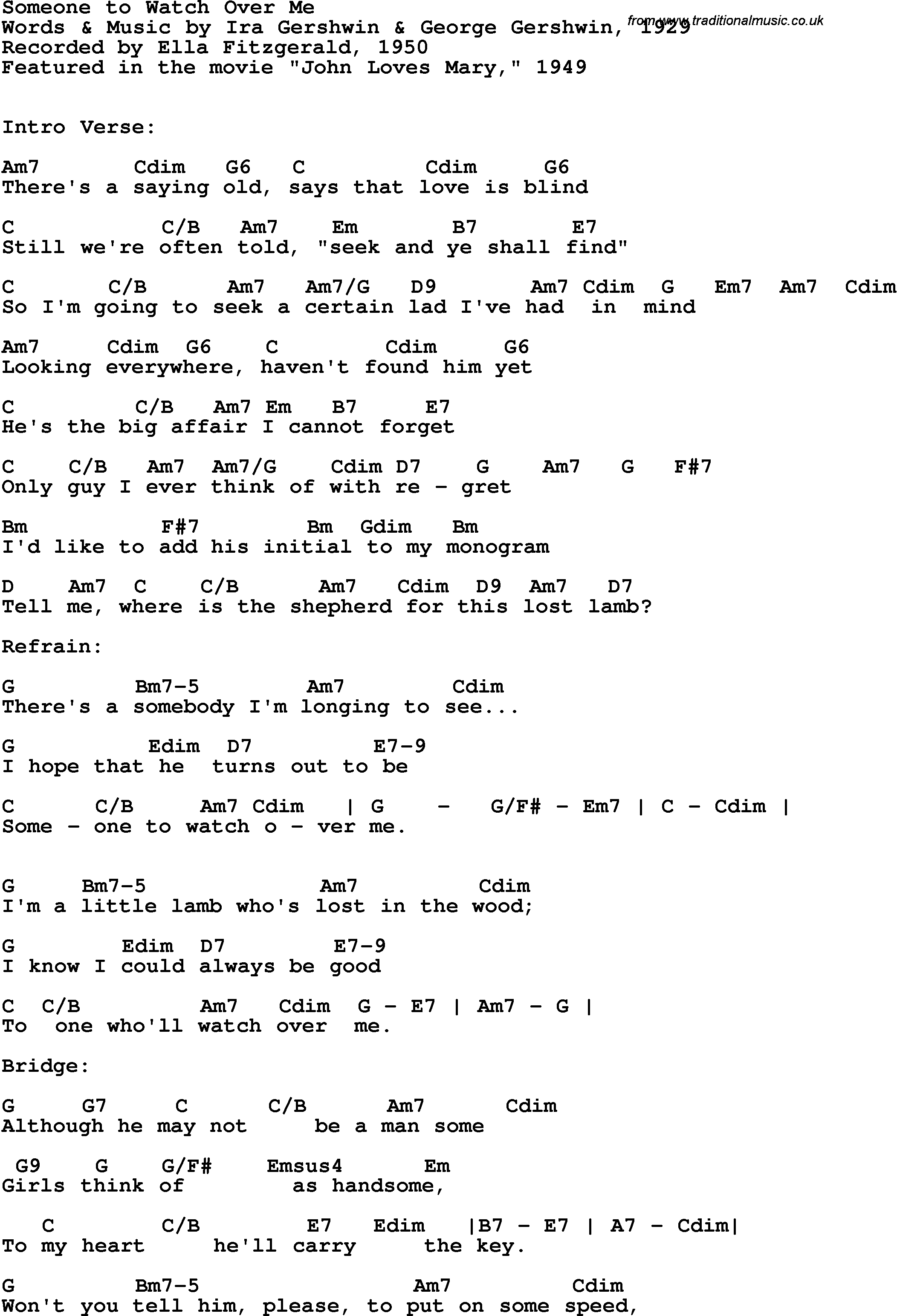 Song Lyrics With Guitar Chords For Someone To Watch Over Me Ella