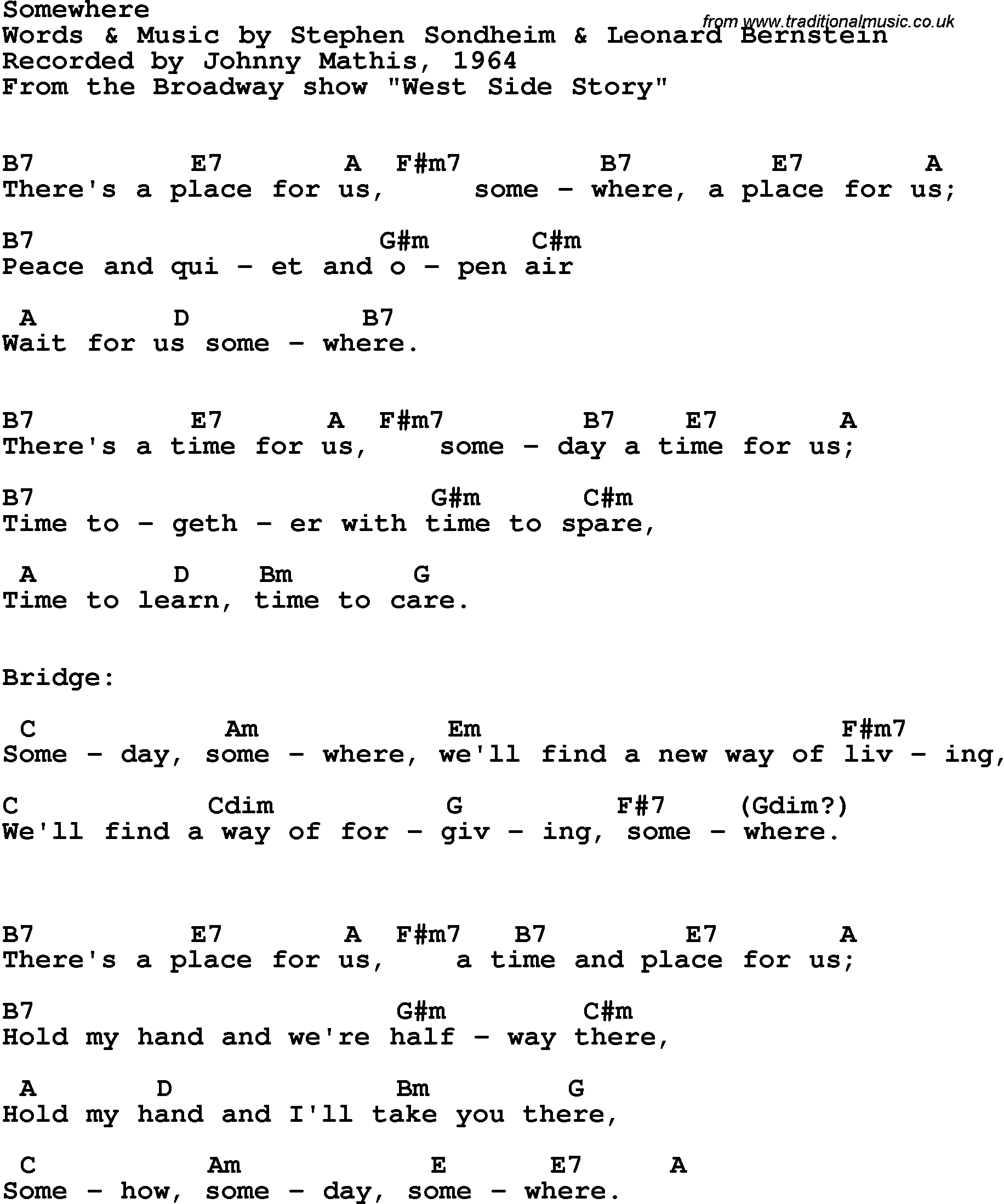 Song Lyrics With Guitar Chords For Somewhere Johnny Mathis 1964