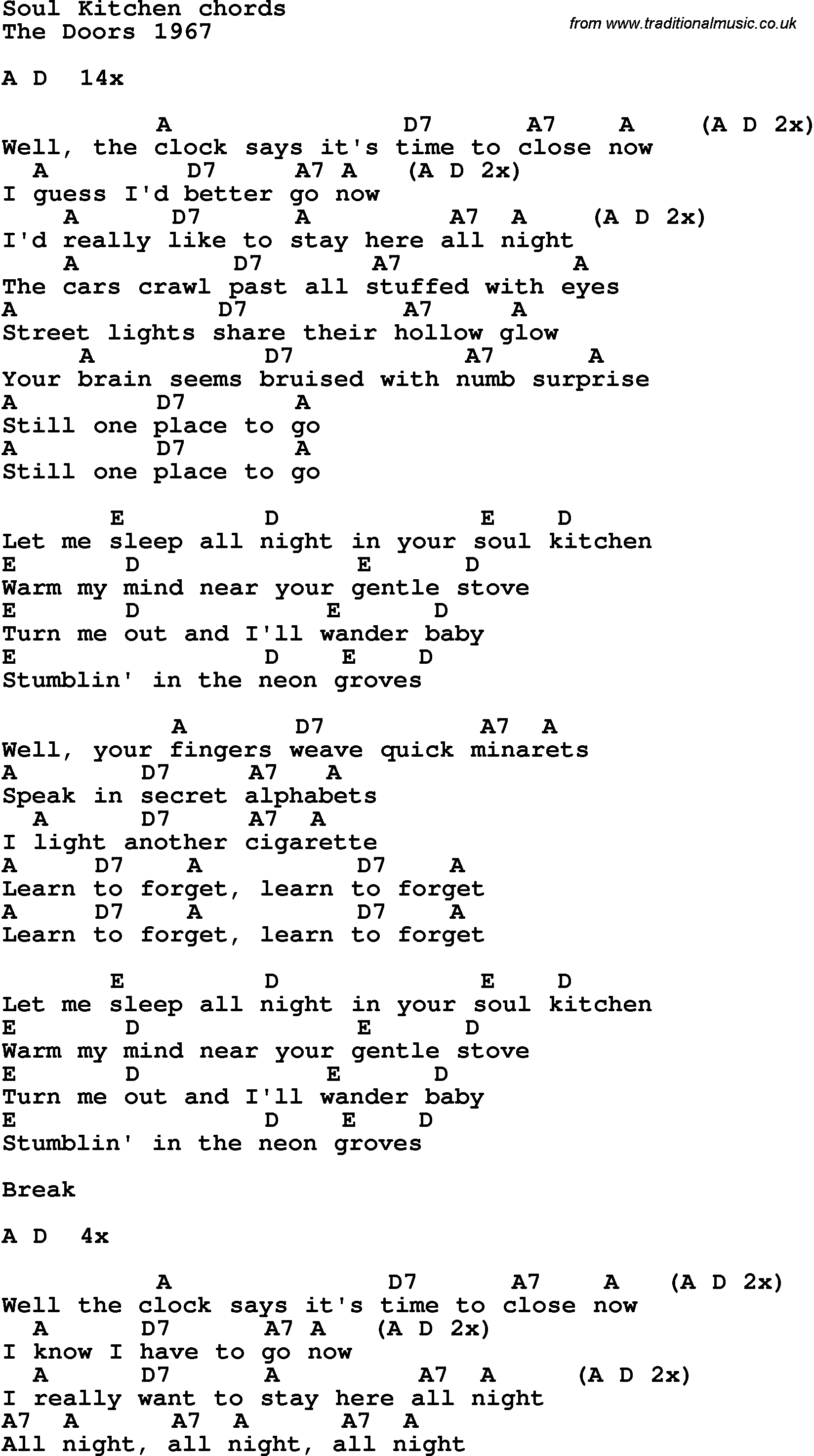 lyrics with guitar chords for Soul Kitchen