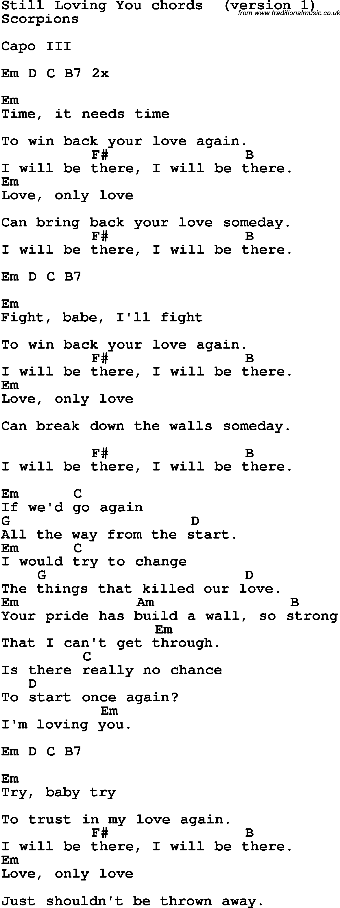 Song Lyrics With Guitar Chords For Still Loving You