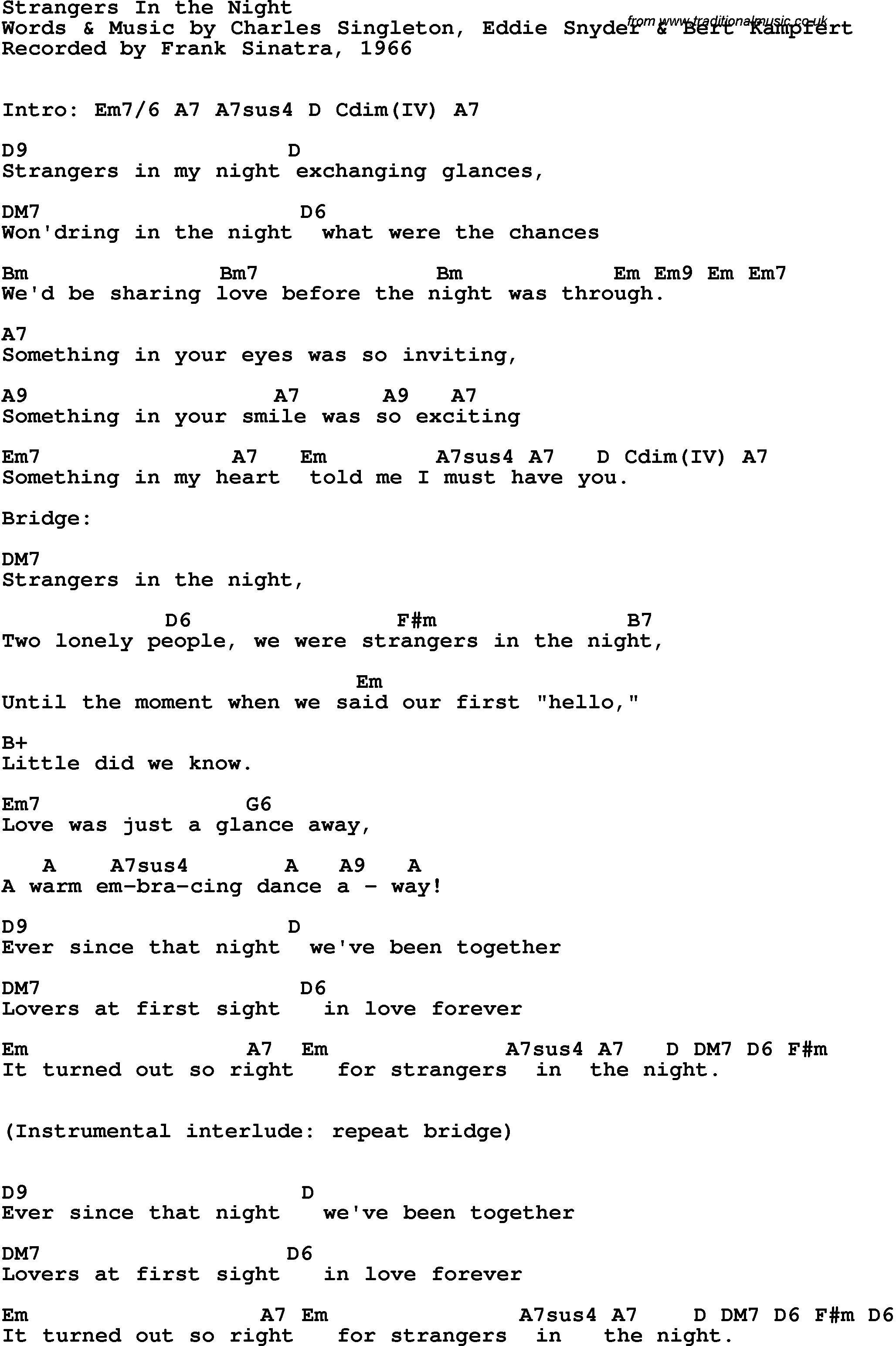 Song Lyrics With Guitar Chords For Strangers In The Night Frank