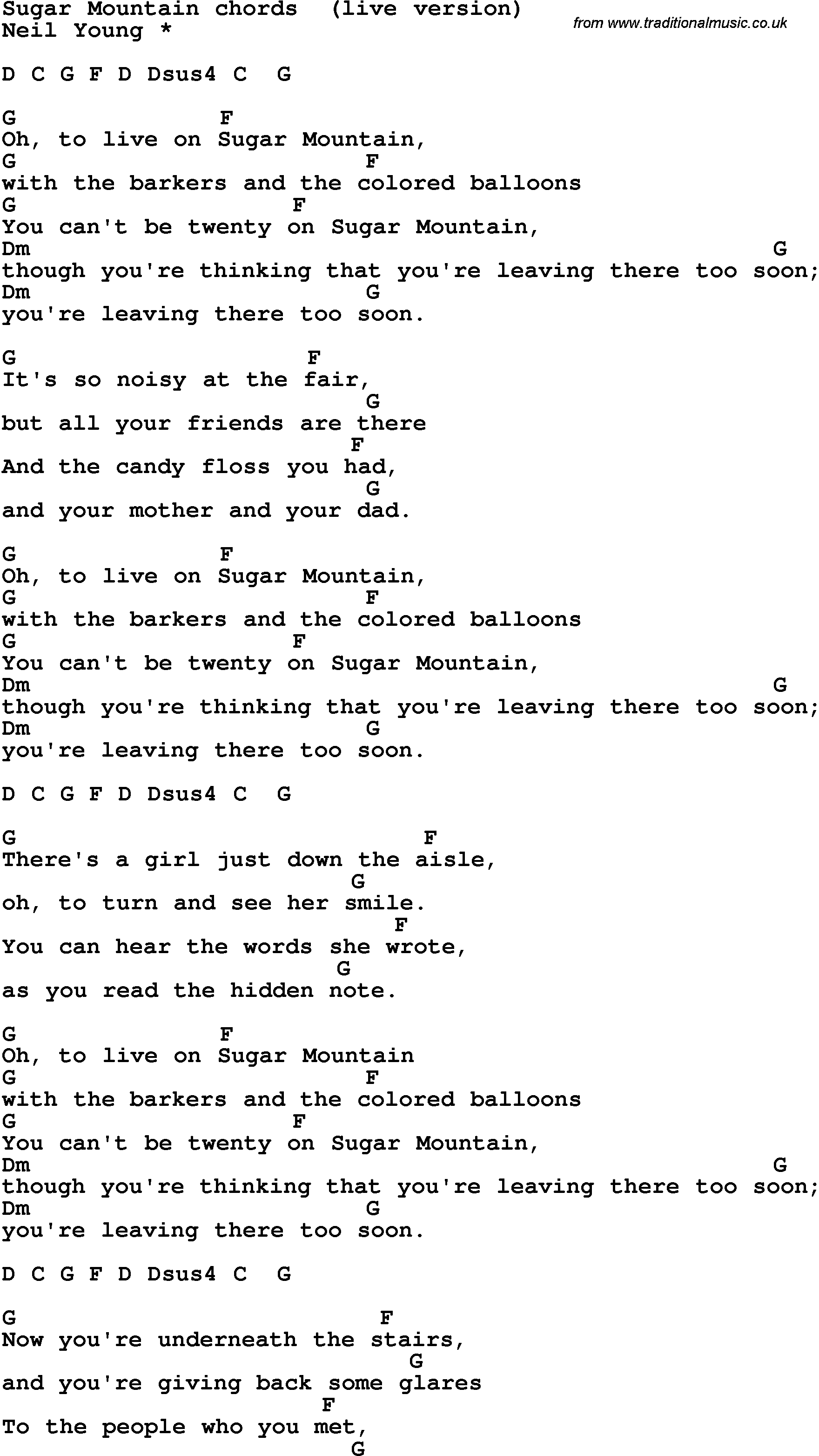 Song Lyrics With Guitar Chords For Sugar Mountain