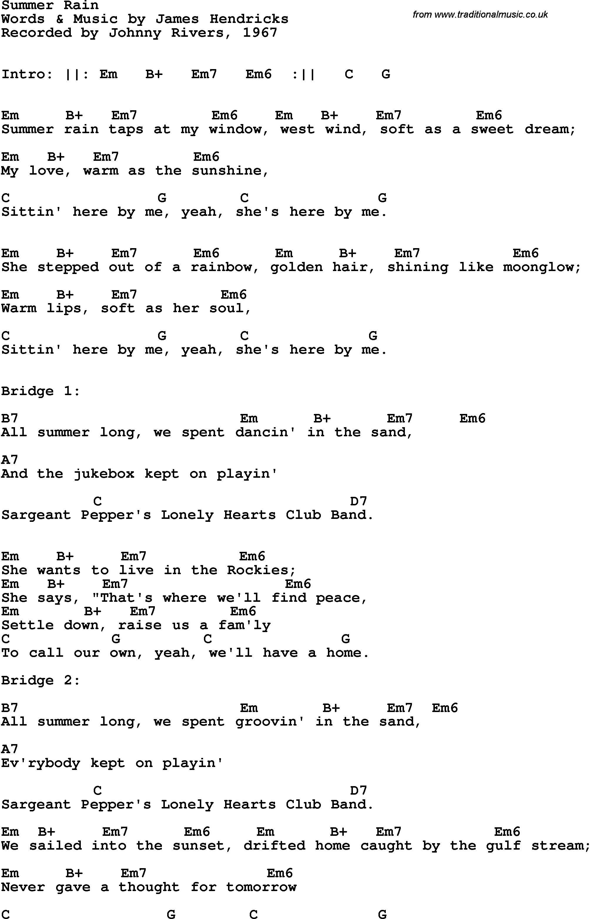 Song lyrics with guitar chords for Summer Rain - Johnny