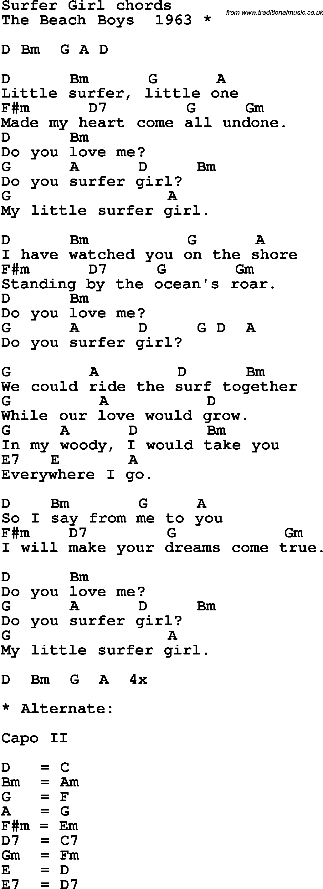 Surfer girl chords