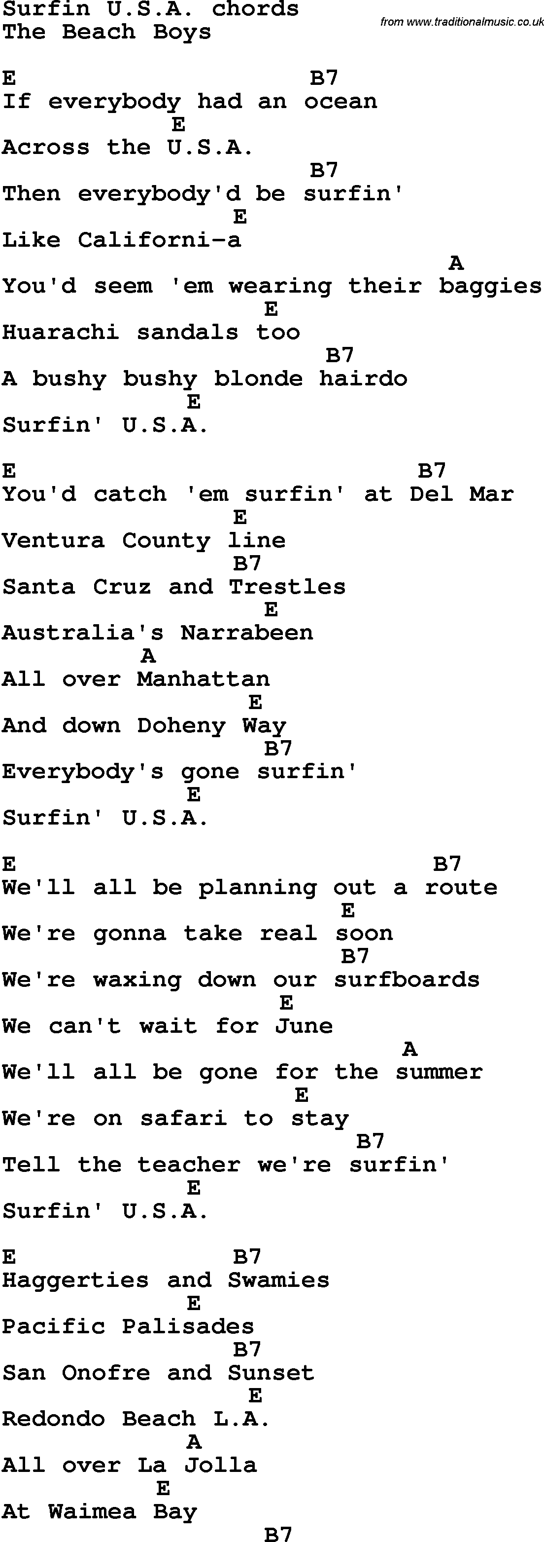 Song lyrics with guitar chords for surfin usa song lyrics with guitar chords for surfin usa hexwebz Images