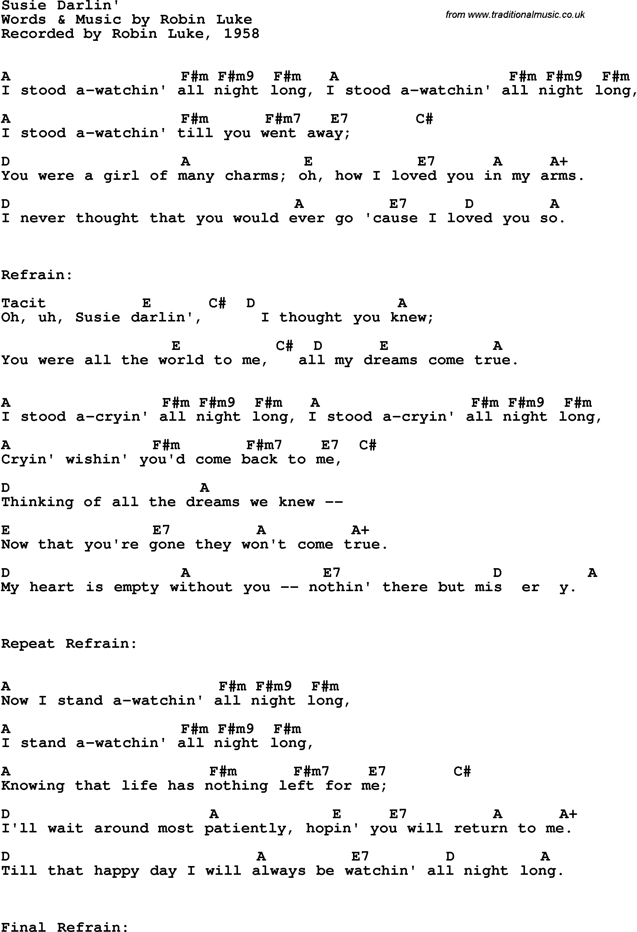 Song lyrics with guitar chords for susie darlin robin luke 1958 song lyrics with guitar chords for susie darlin robin luke 1958 hexwebz Images