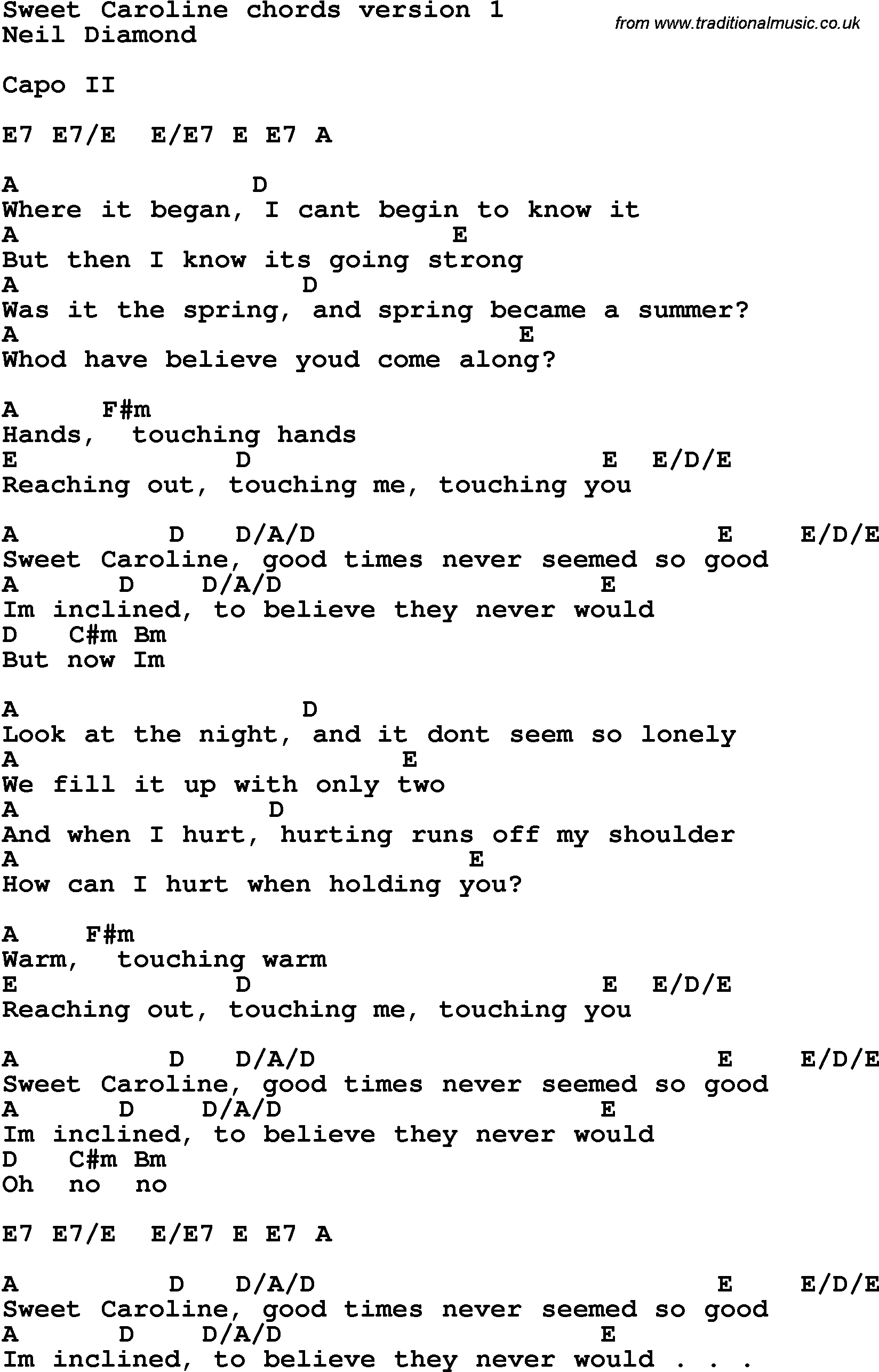 Song Lyrics With Guitar Chords For Sweet Caroline