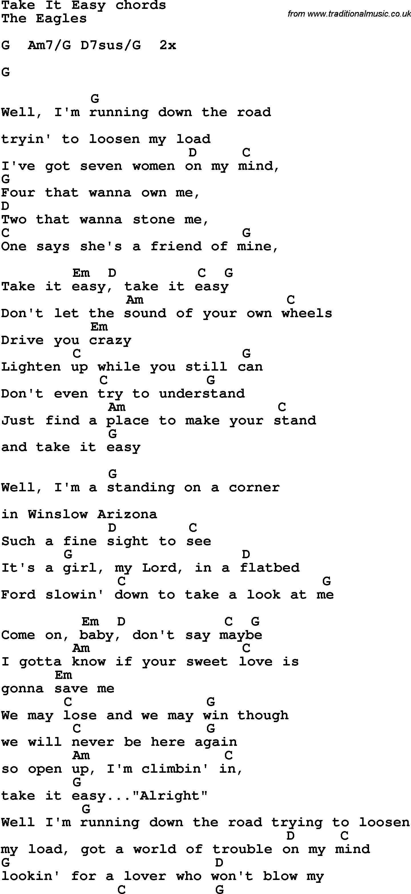 Song Lyrics With Guitar Chords For Take It Easy The Eagles