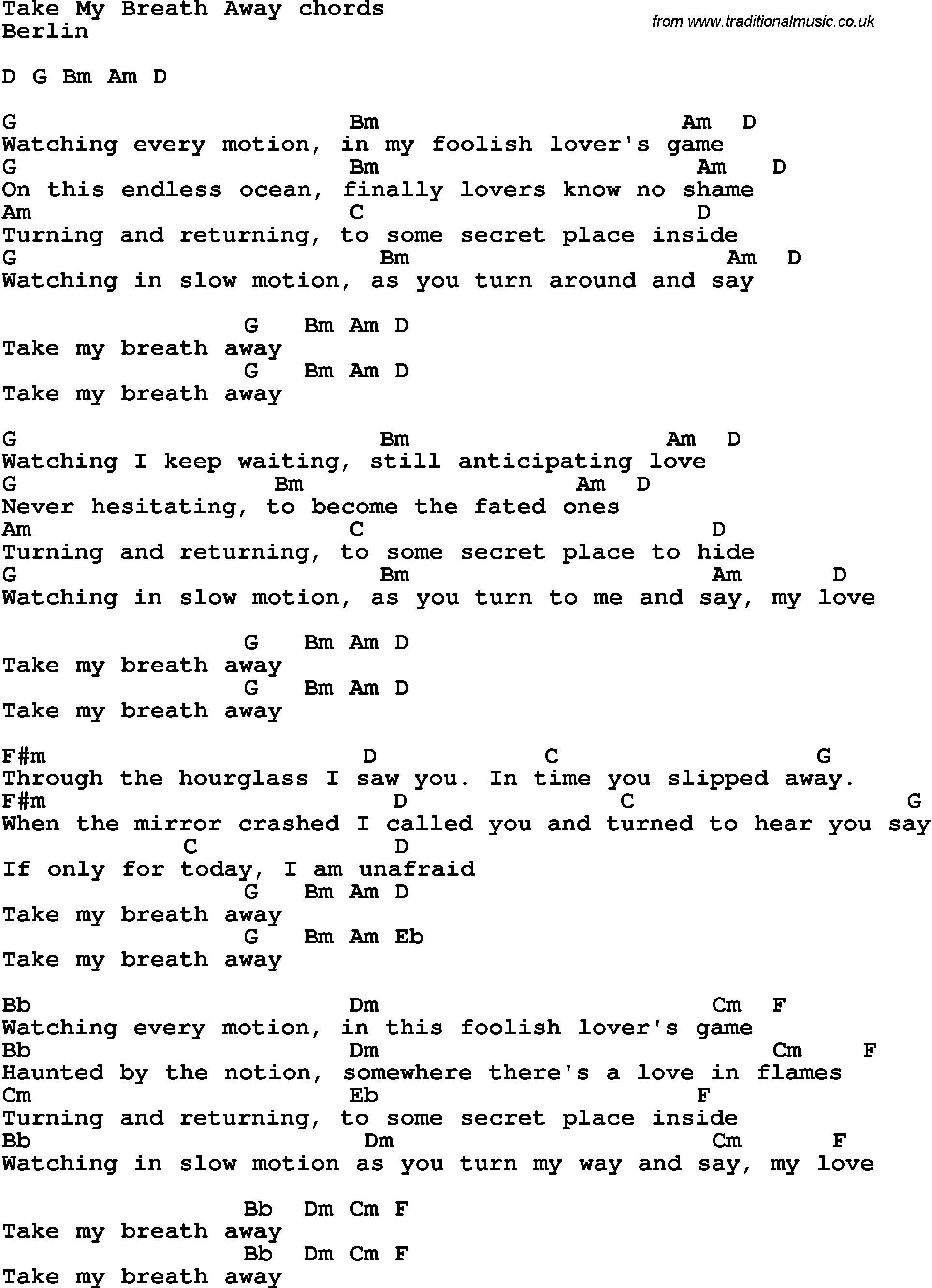 Song Lyrics With Guitar Chords For Take My Breath Away