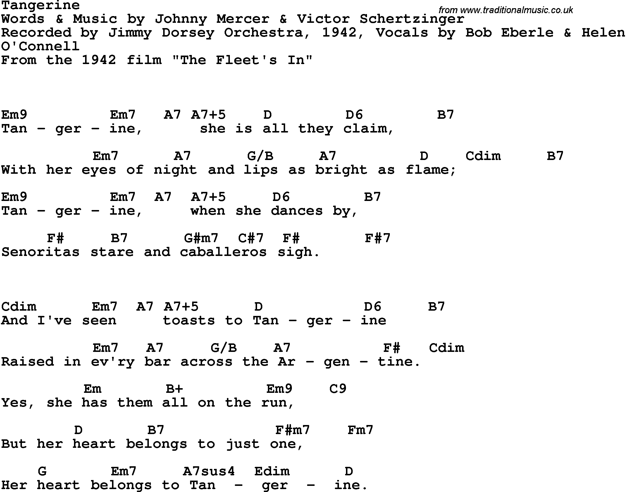 Song Lyrics With Guitar Chords For Tangerine Jimmy Dorsey 1942