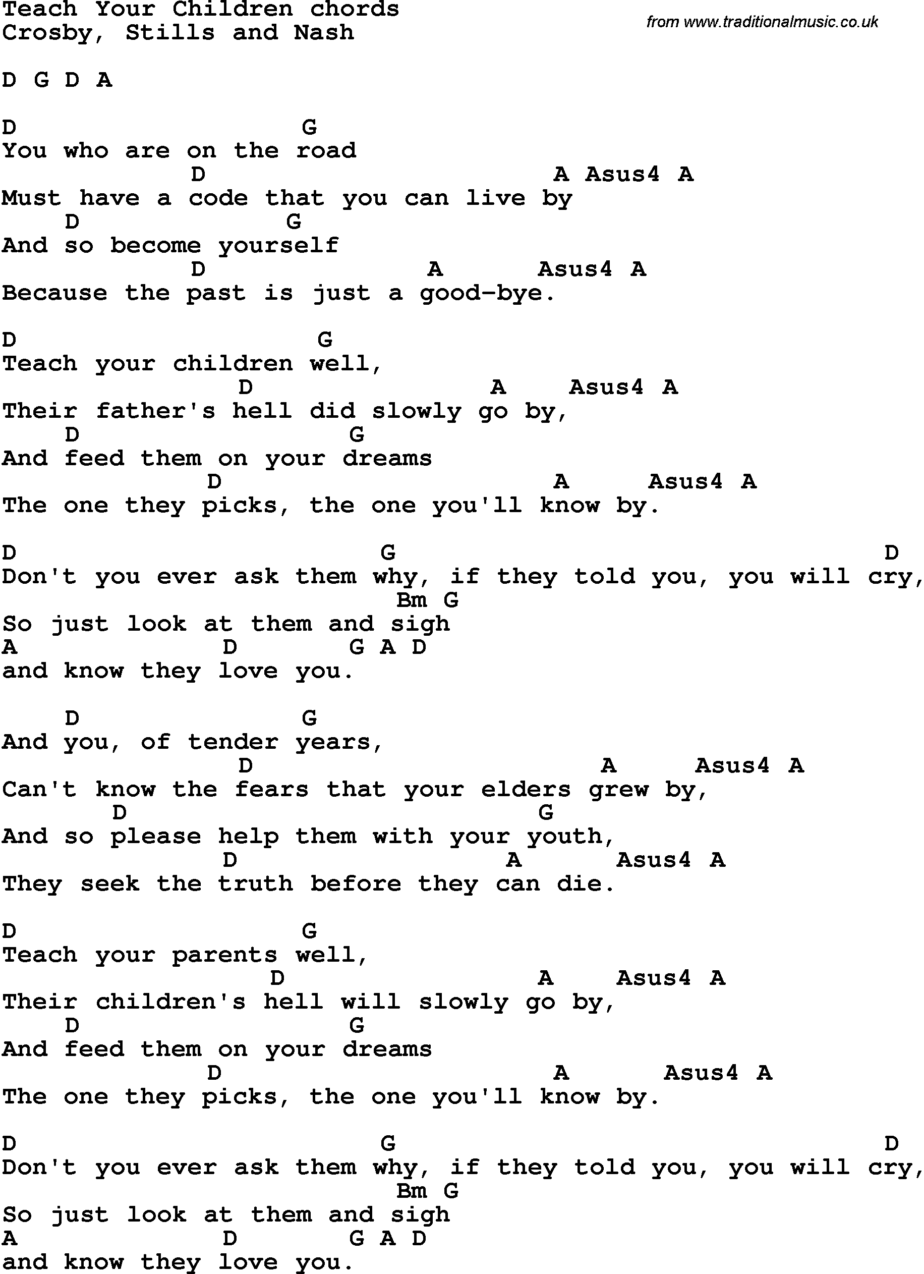 Song Lyrics With Guitar Chords For Teach Your Children