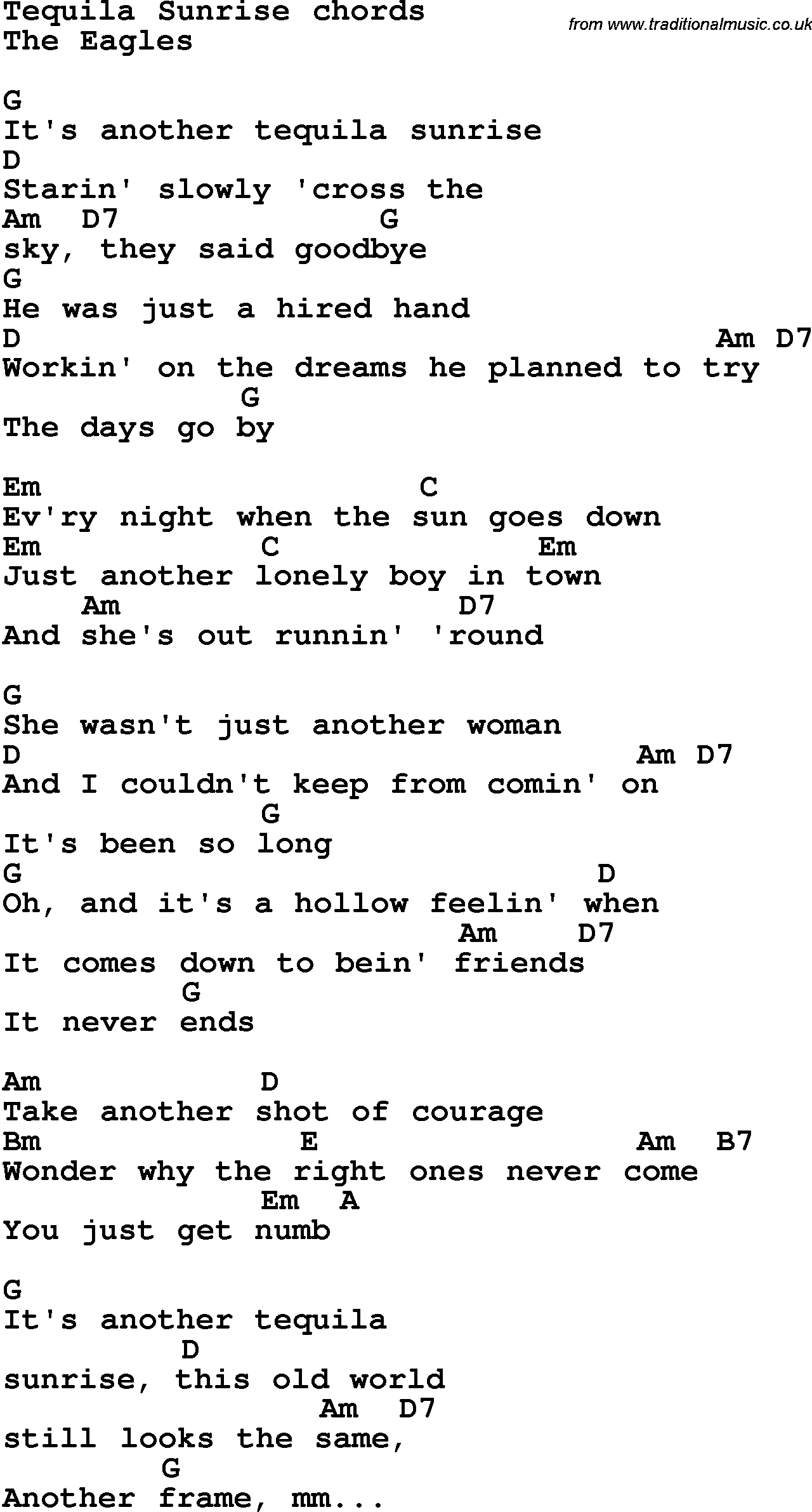Song Lyrics With Guitar Chords For Tequila Sunrise The Eagles