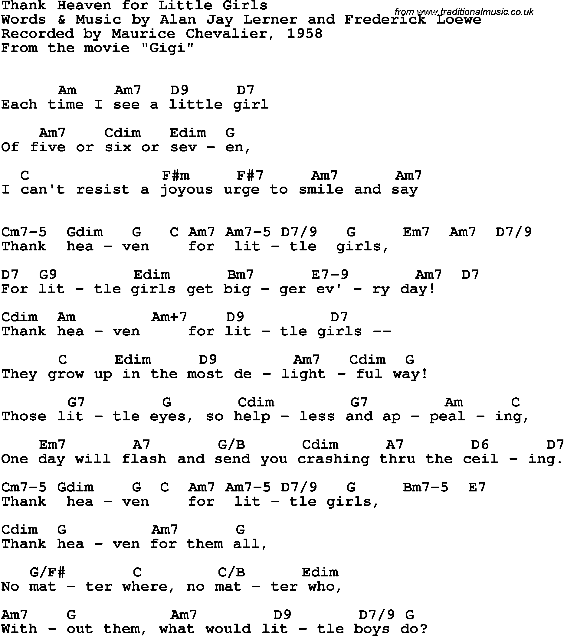 Song Lyrics With Guitar Chords For Thank Heaven For Little Girls