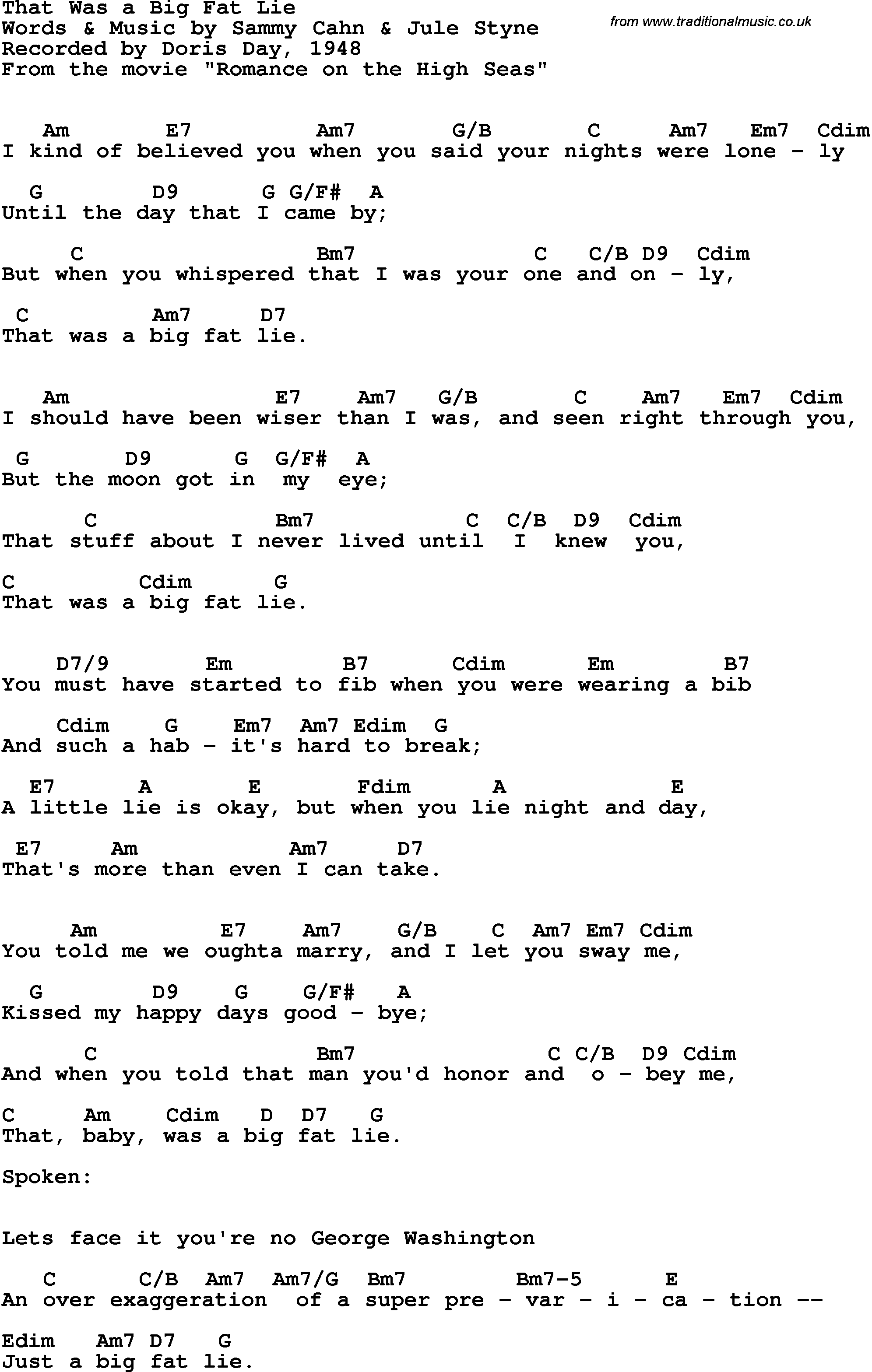 Song Lyrics With Guitar Chords For That Was A Big Fat Lie Doris
