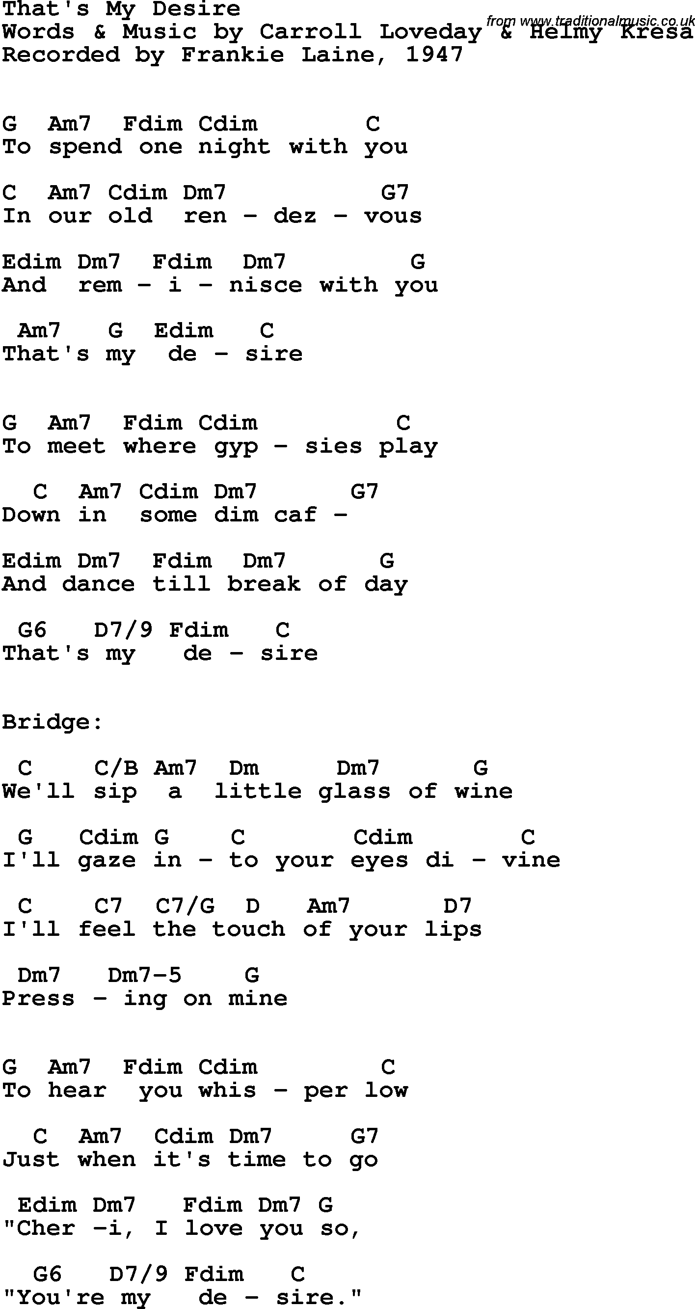 Song Lyrics With Guitar Chords For Thats My Desire Frankie Laine