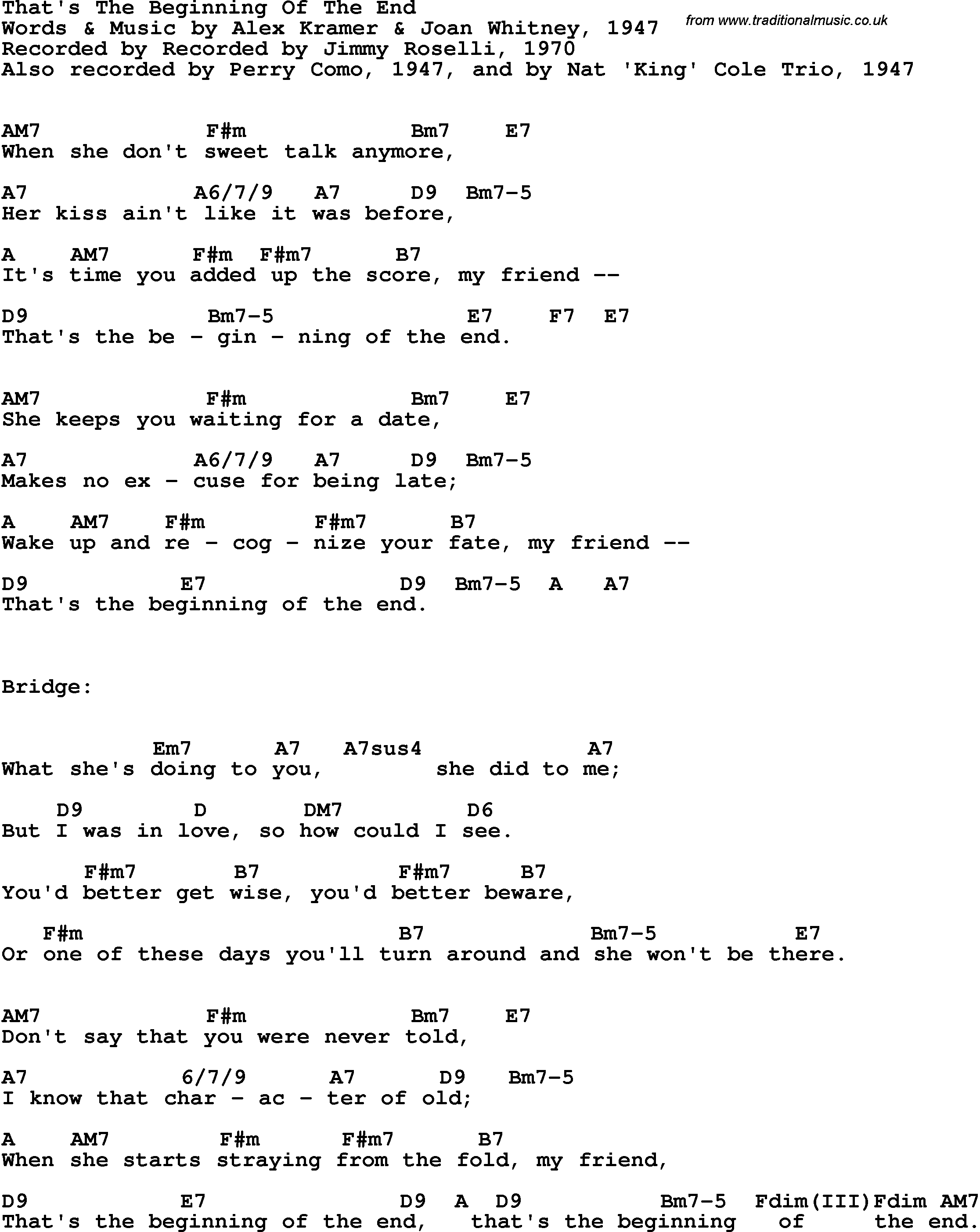 Song Lyrics With Guitar Chords For Thats The Beginning Of The End