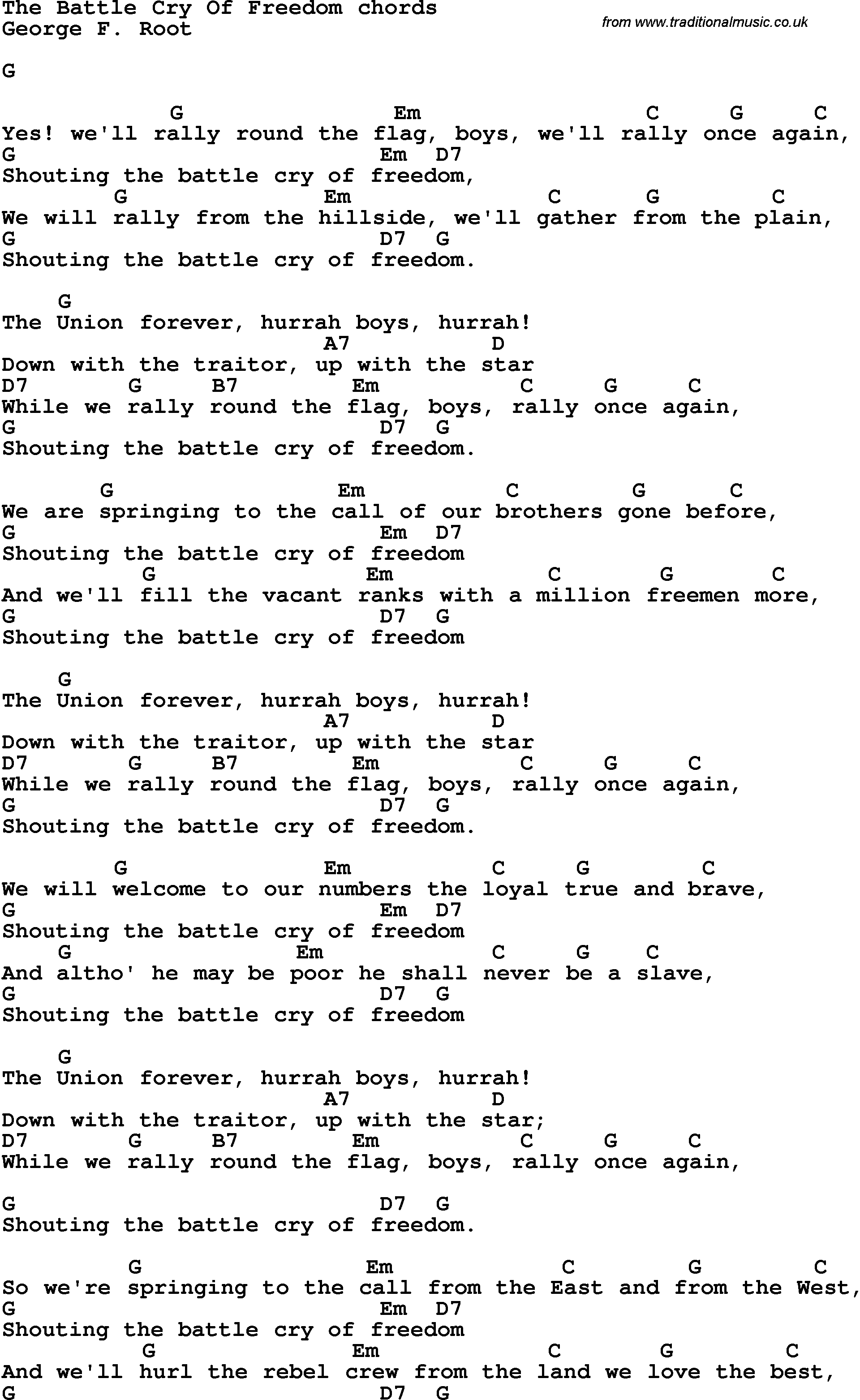 Song Lyrics With Guitar Chords For The Battle Cry Of Freedom