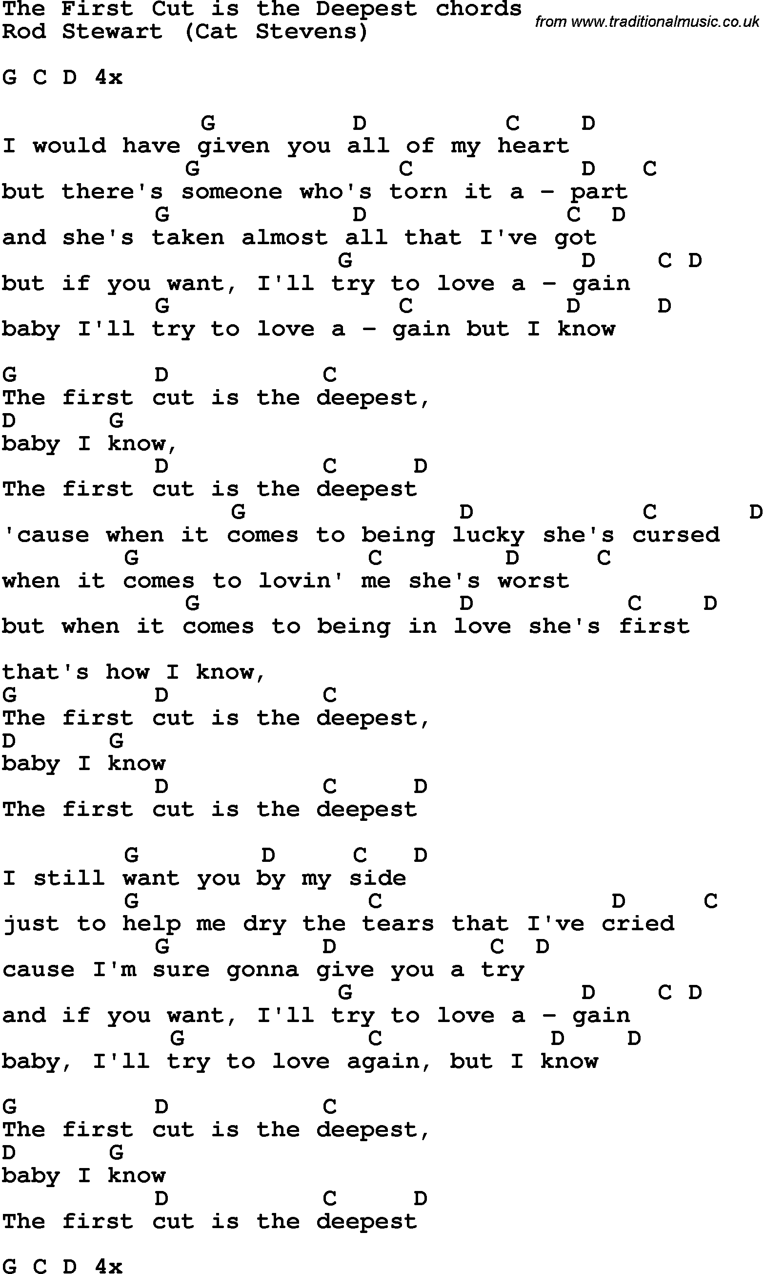 Song lyrics with guitar chords for the first cut is the deepest song lyrics with guitar chords for the first cut is the deepest rod stewart hexwebz Images