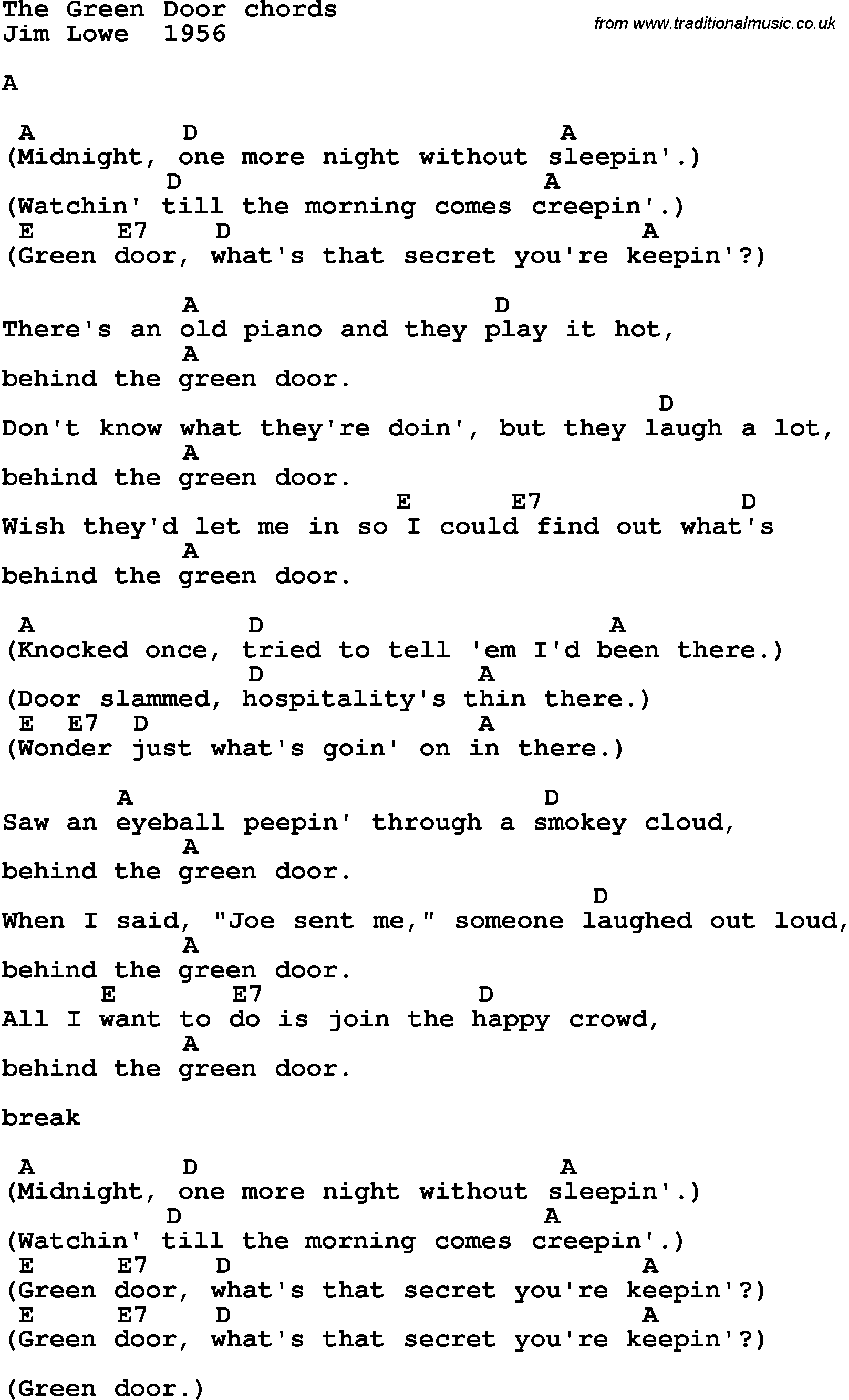 sc 1 st  Traditional Music Library & Song lyrics with guitar chords for The Green Door - Jim Lowe 1956