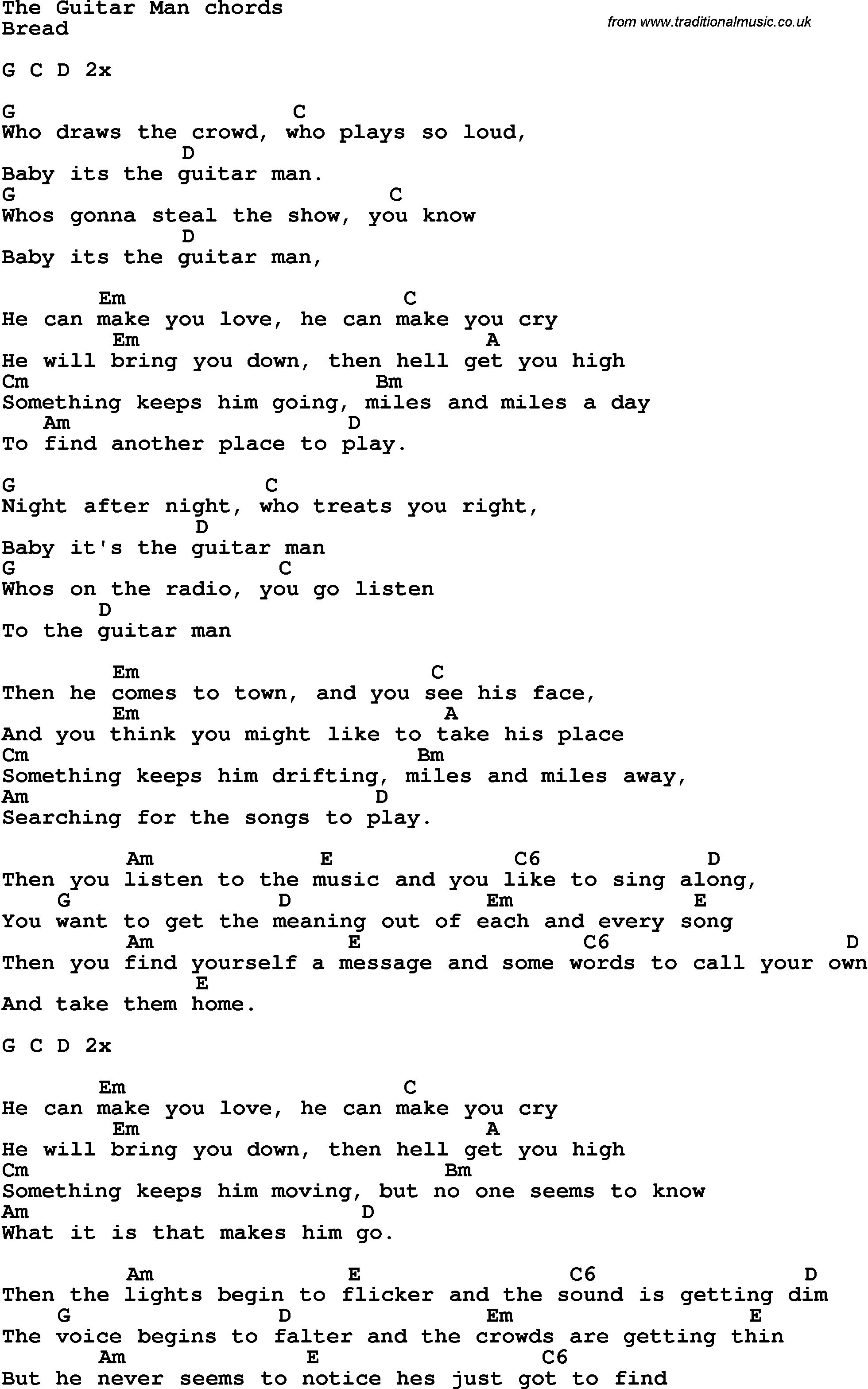 Song lyrics with guitar chords for the guitar man song lyrics with guitar chords for the guitar man hexwebz Images