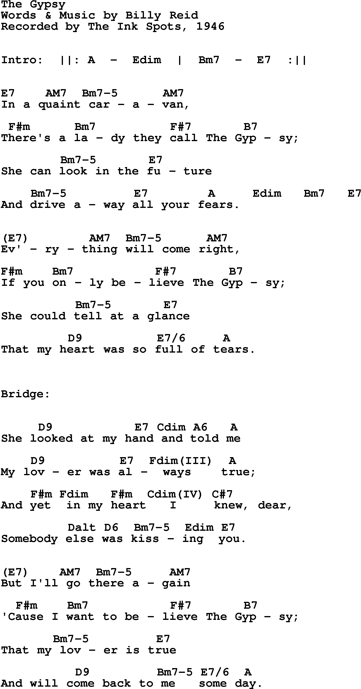 Song Lyrics With Guitar Chords For The Gypsy Ink Spots 1946