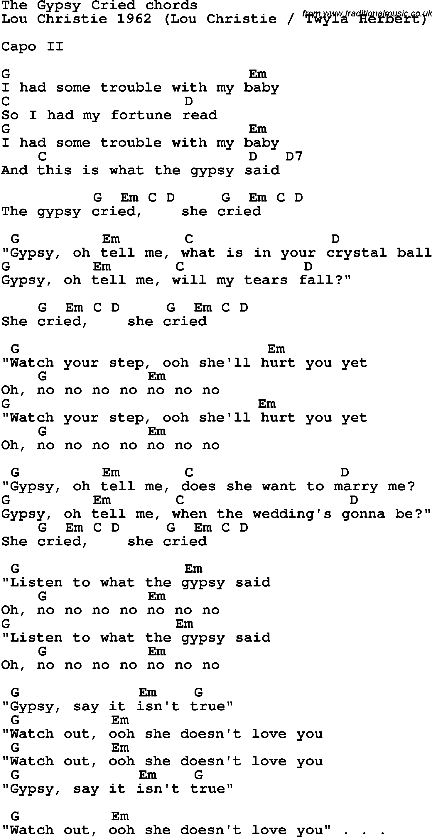 Song Lyrics With Guitar Chords For The Gypsy Cried Lou Christie 1962