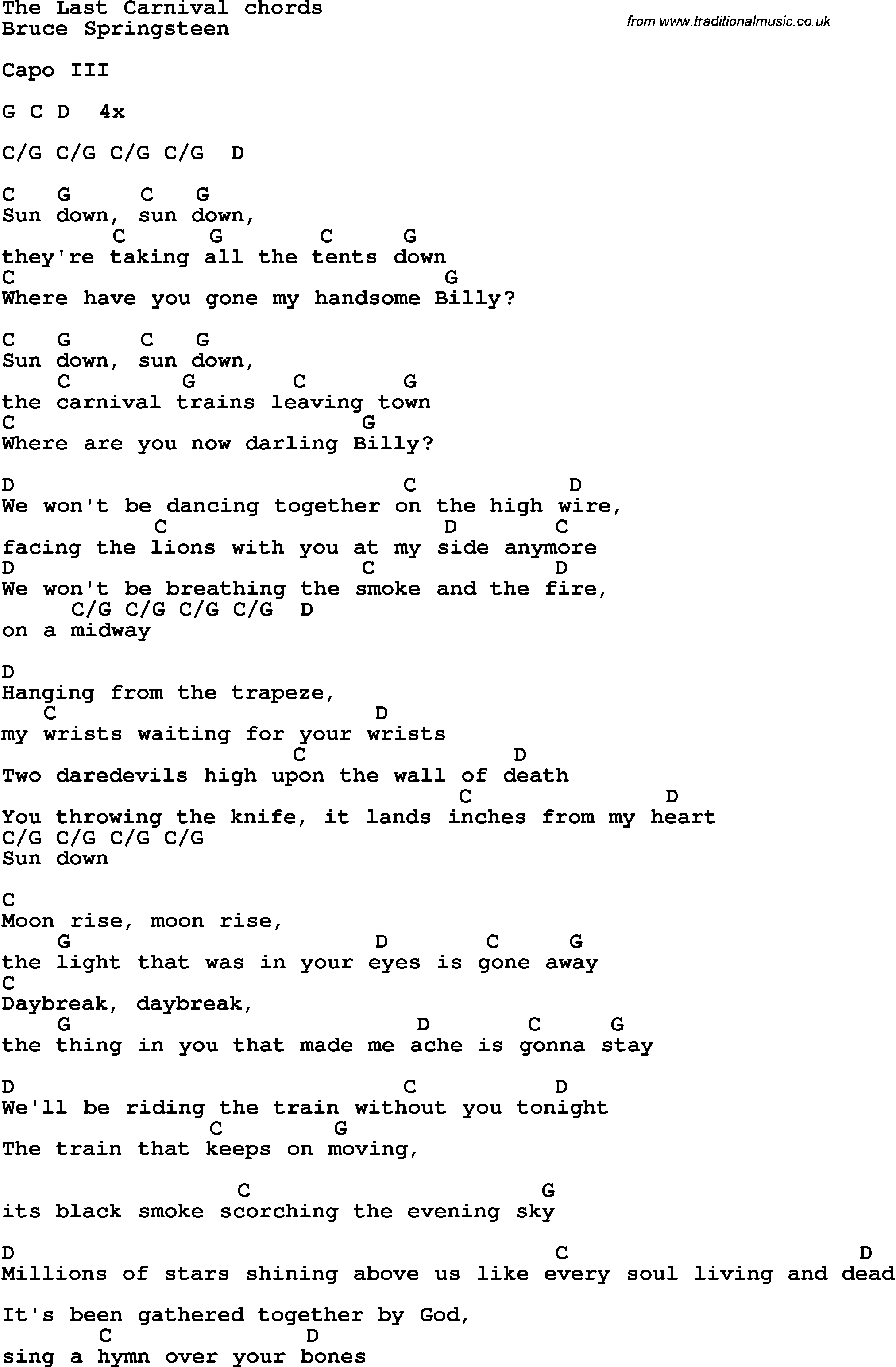 Song lyrics with guitar chords for the last carnival bruce song lyrics with guitar chords for the last carnival bruce springsteen hexwebz Images