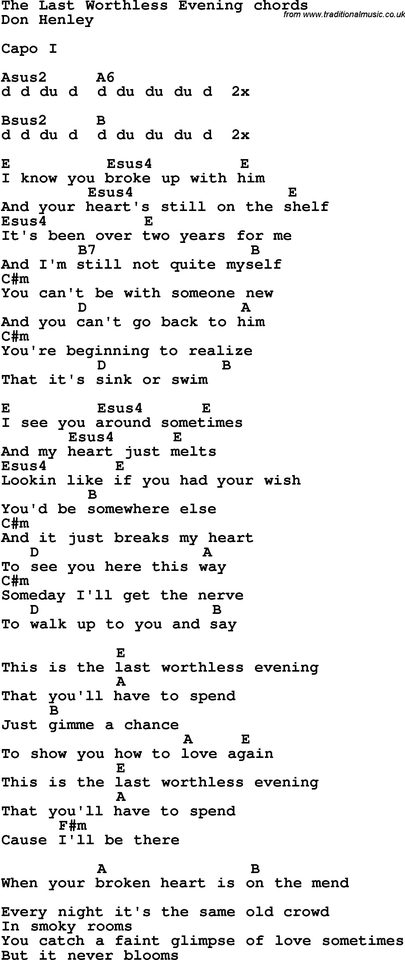 Song Lyrics With Guitar Chords For The Last Worthless Evening