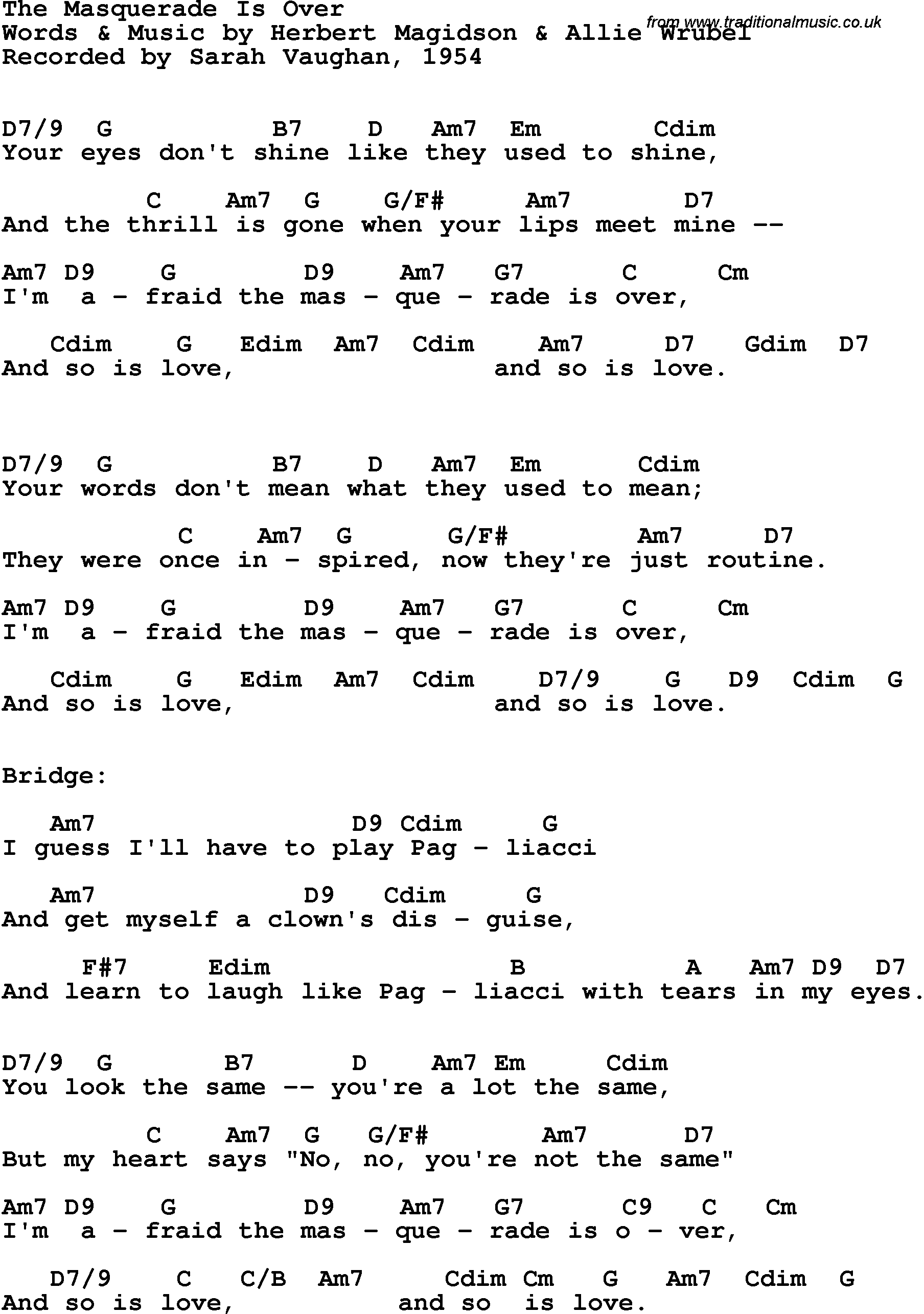 Song Lyrics With Guitar Chords For The Masquerade Is Over Sarah