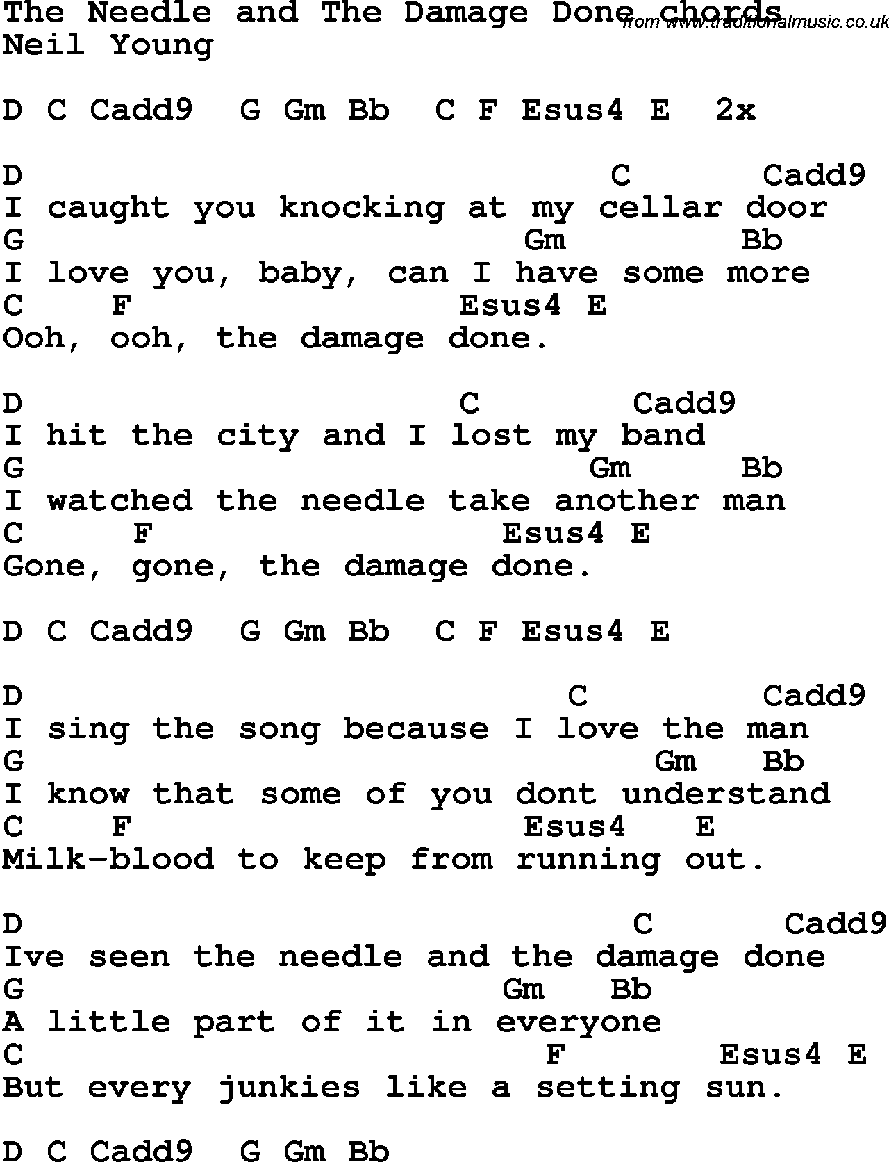 Song lyrics with guitar chords for The Needle And The Damage Done