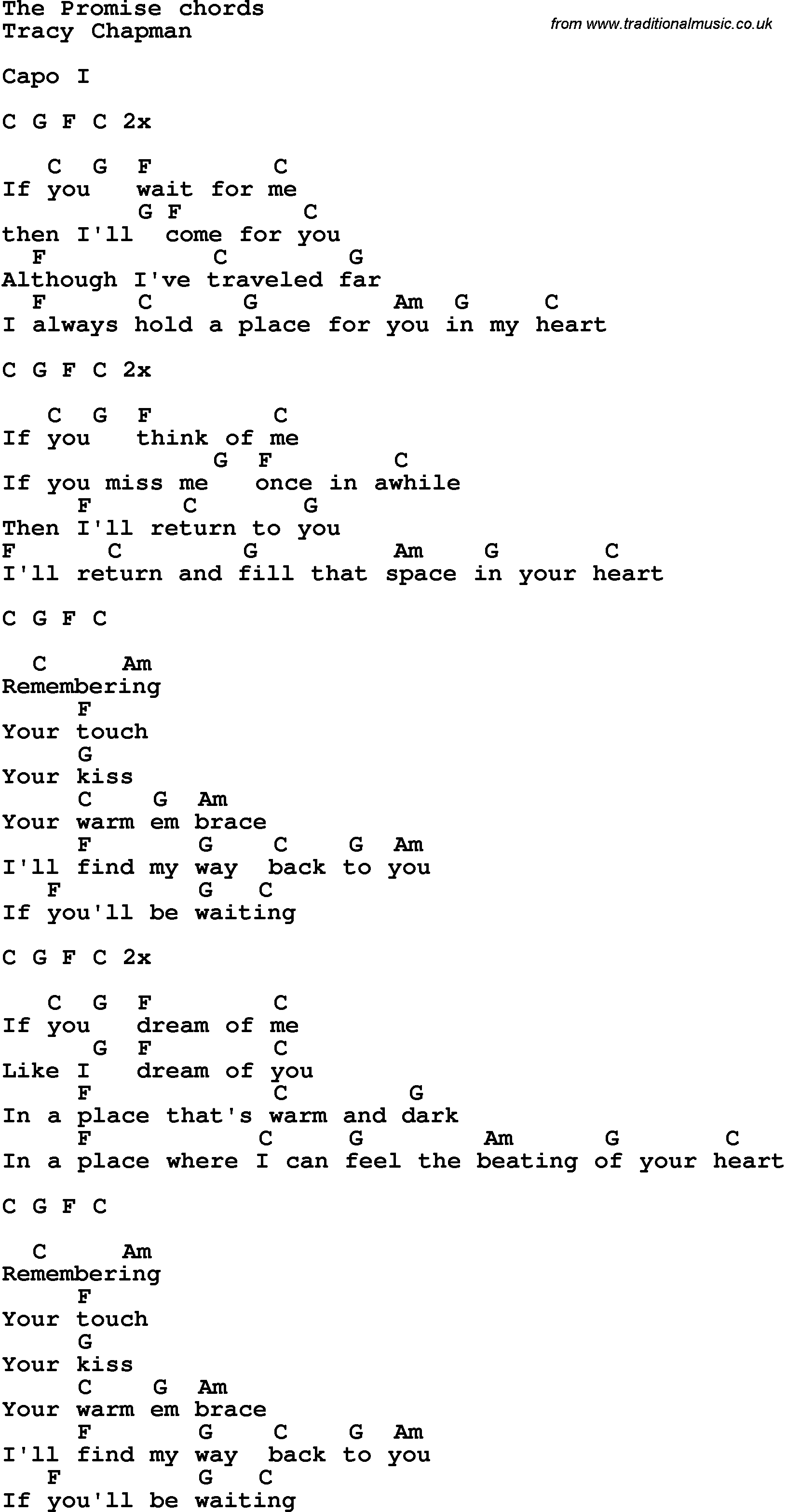 Song Lyrics With Guitar Chords For The Promise Tracy Chapman