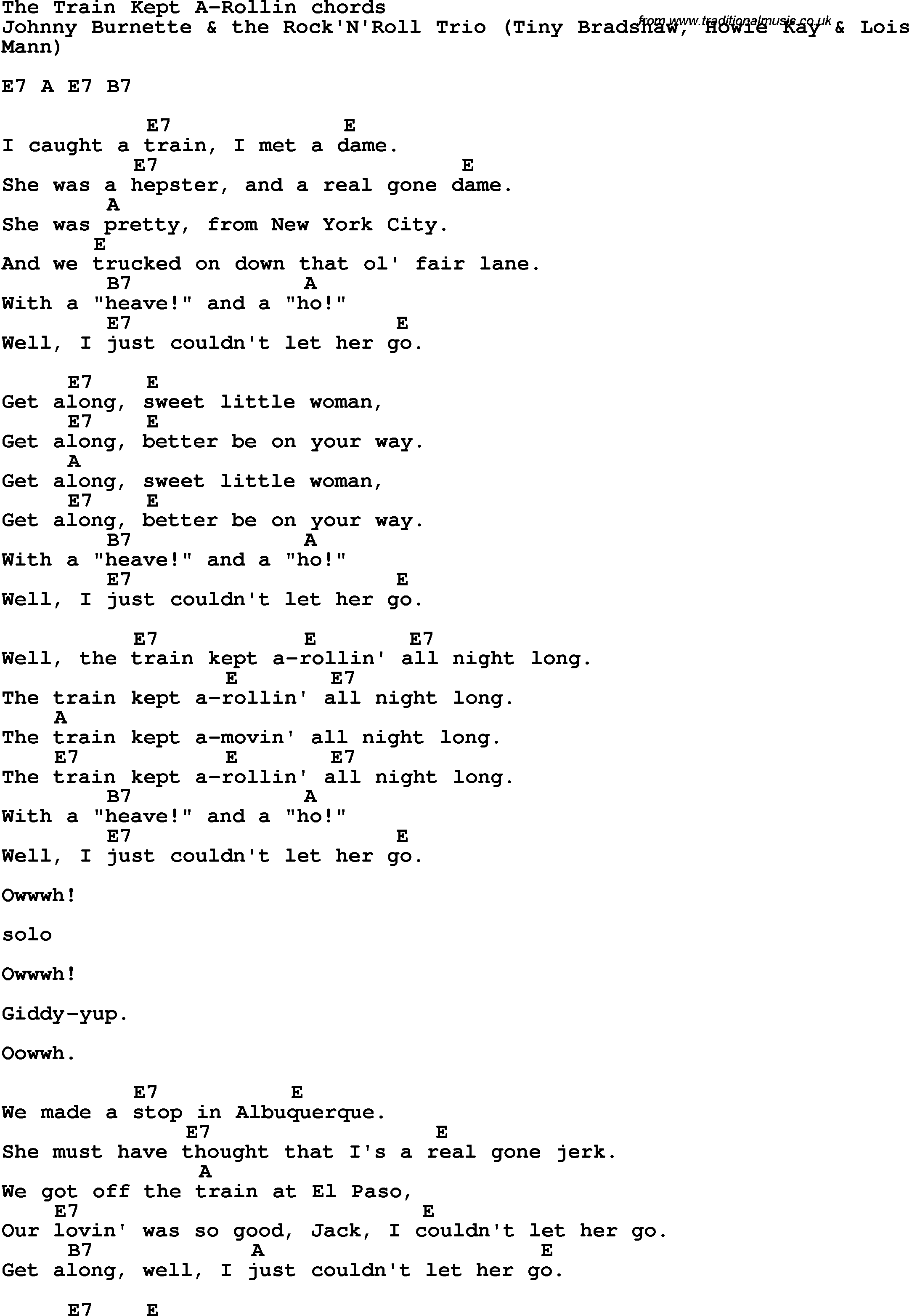 Song Lyrics With Guitar Chords For The Train Kept A Rollin Johnny