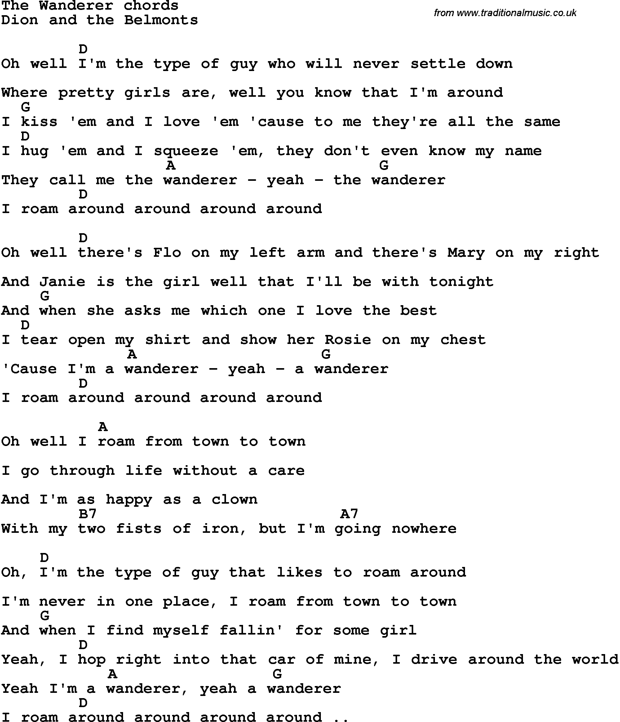 Song Lyrics With Guitar Chords For The Wanderer Dion And The Belmonts