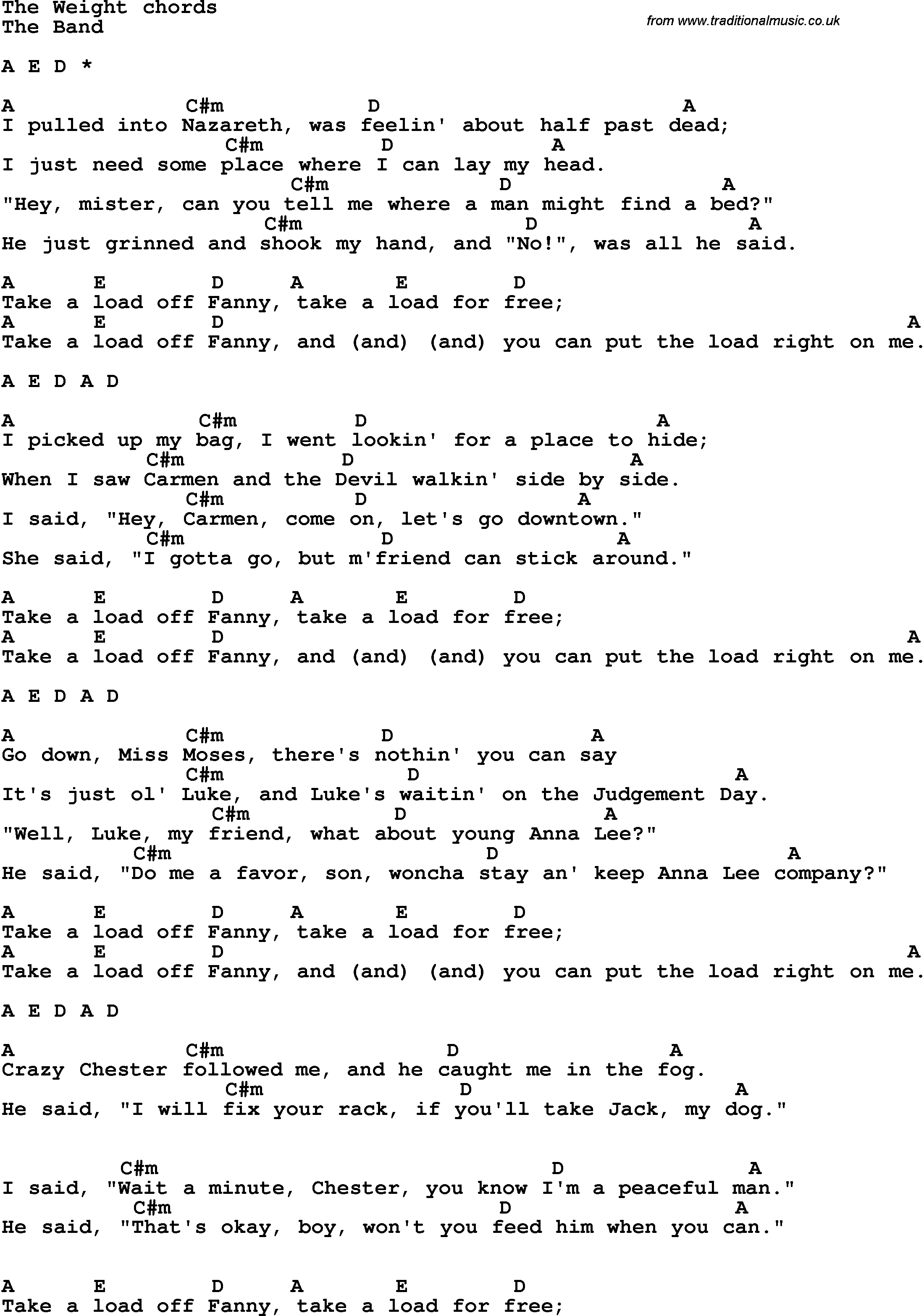 Song Lyrics With Guitar Chords For The Weight The Band