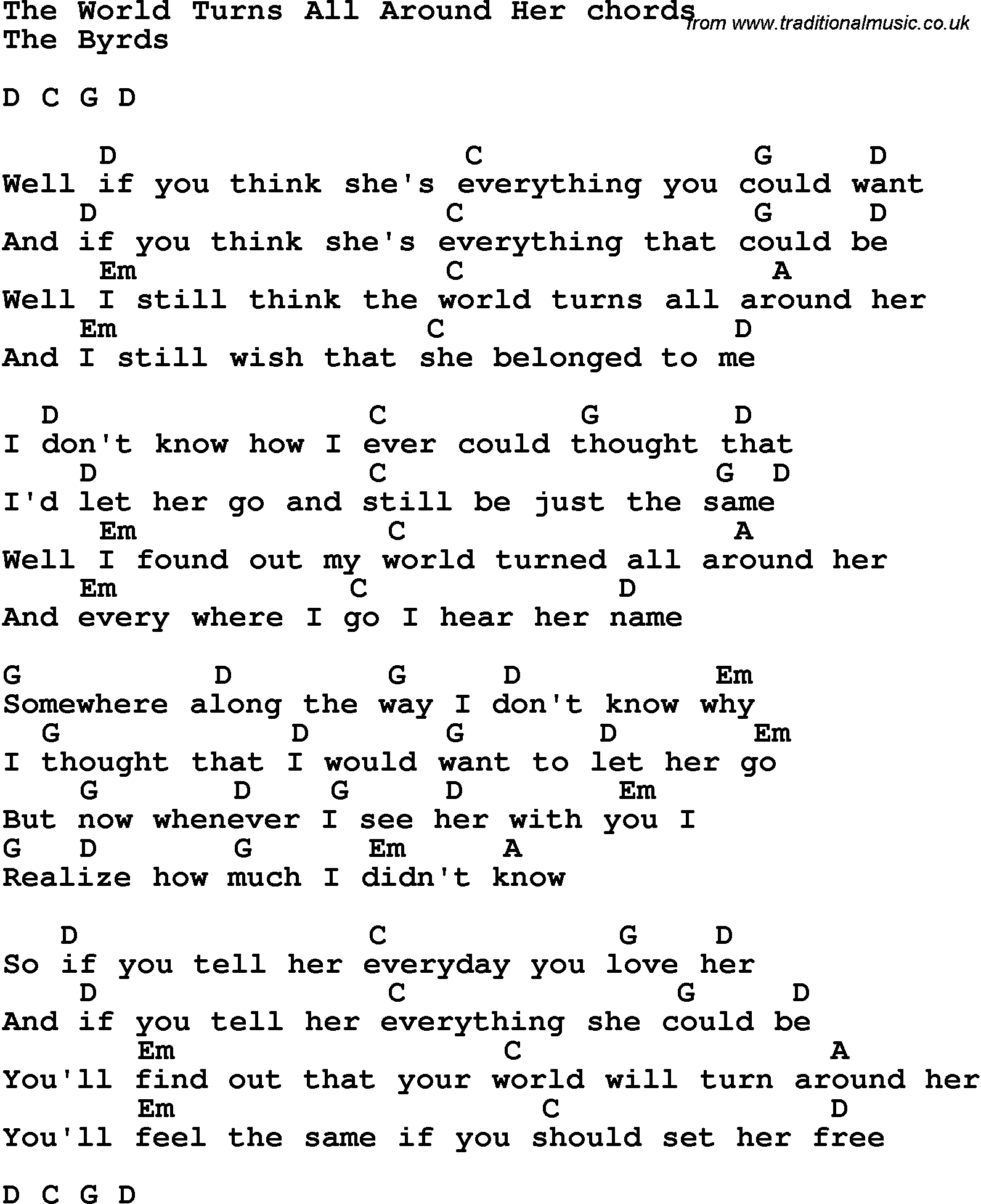 Song Lyrics With Guitar Chords For The World Turns All Around Her