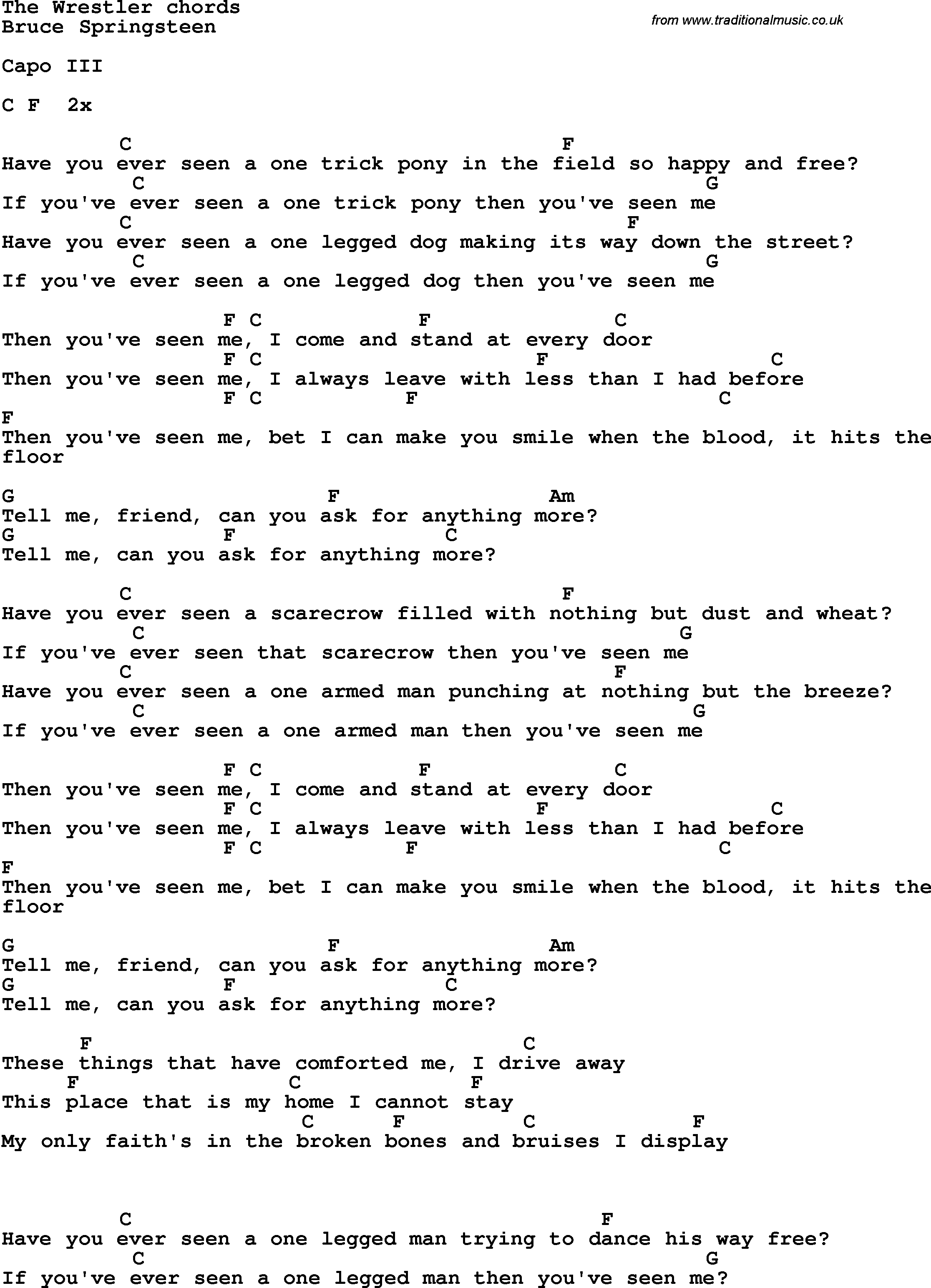 Song Lyrics With Guitar Chords For The Wrestler Bruce Springsteen