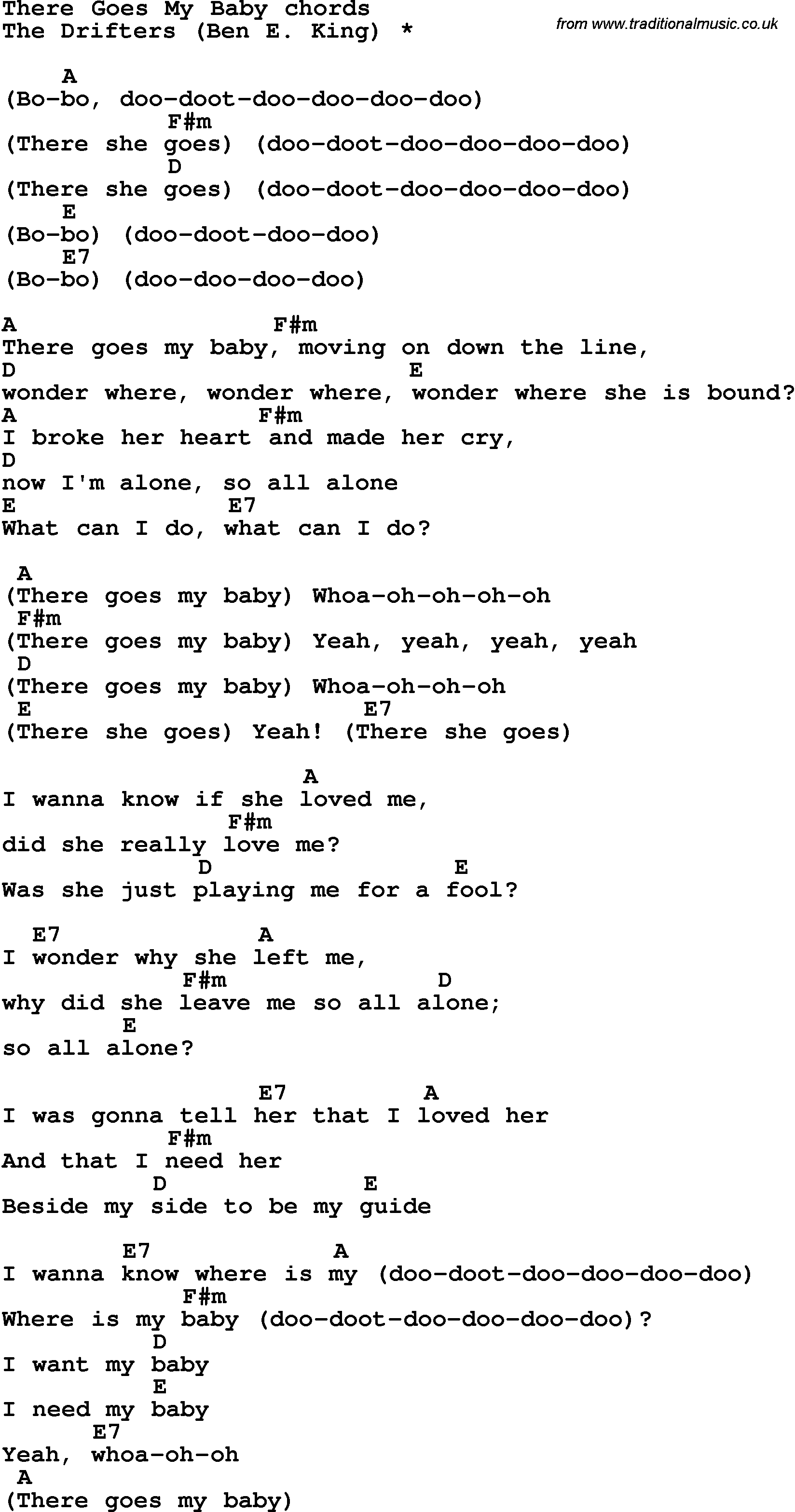 Song Lyrics With Guitar Chords For There Goes My Baby The Drifters